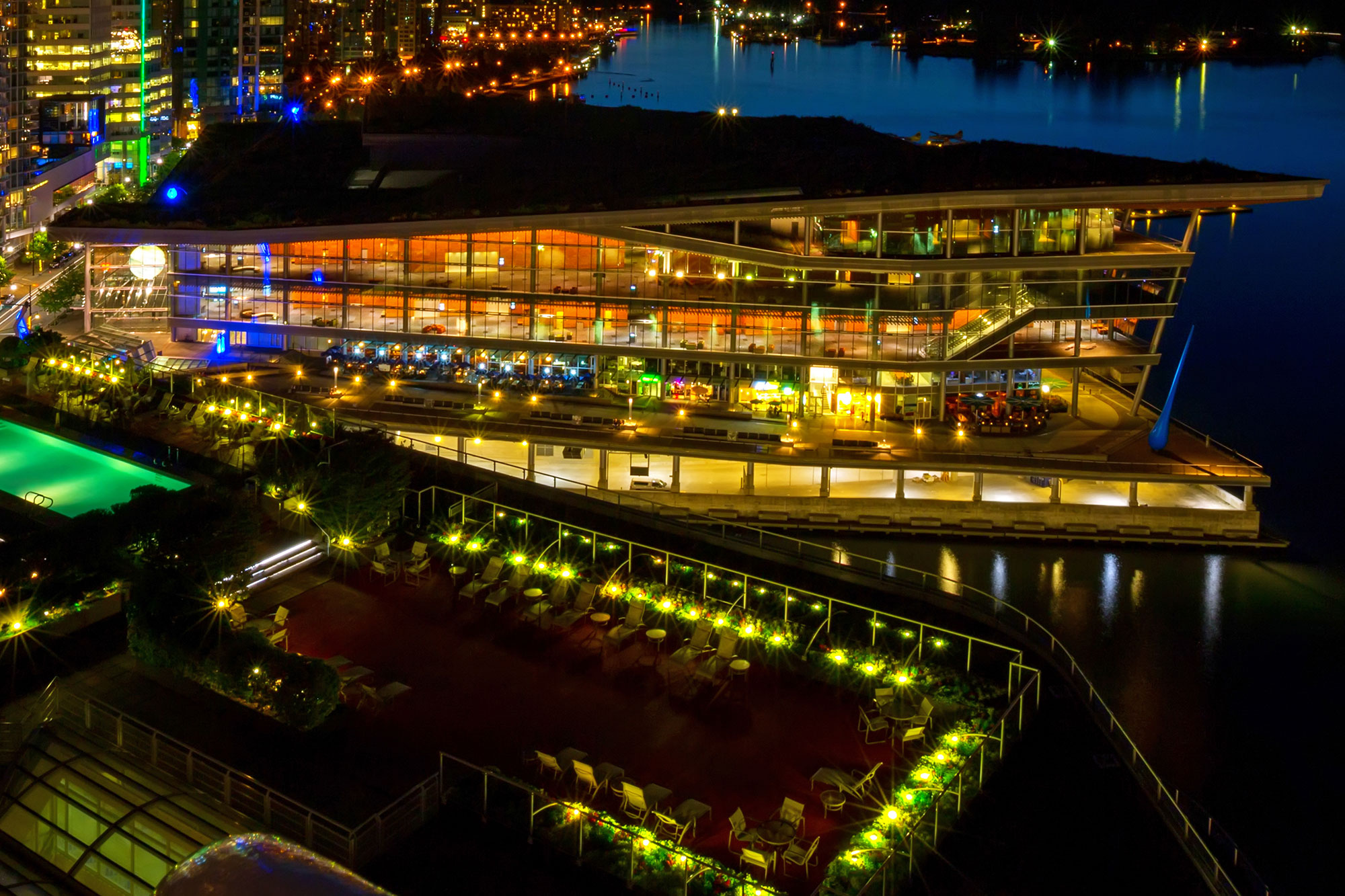 Skyline with Living Green Roof: Vancouver Convention Centre Canada