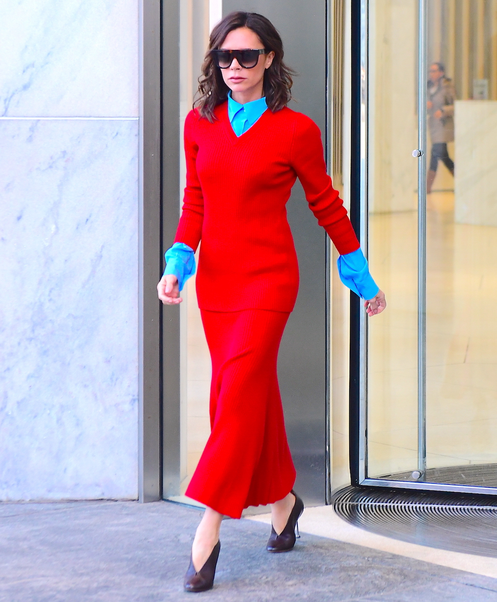 Victoria Beckham Emerges in NYC Wearing Fiery Red Outfit Amid David Beckham's Email Leak Scandal