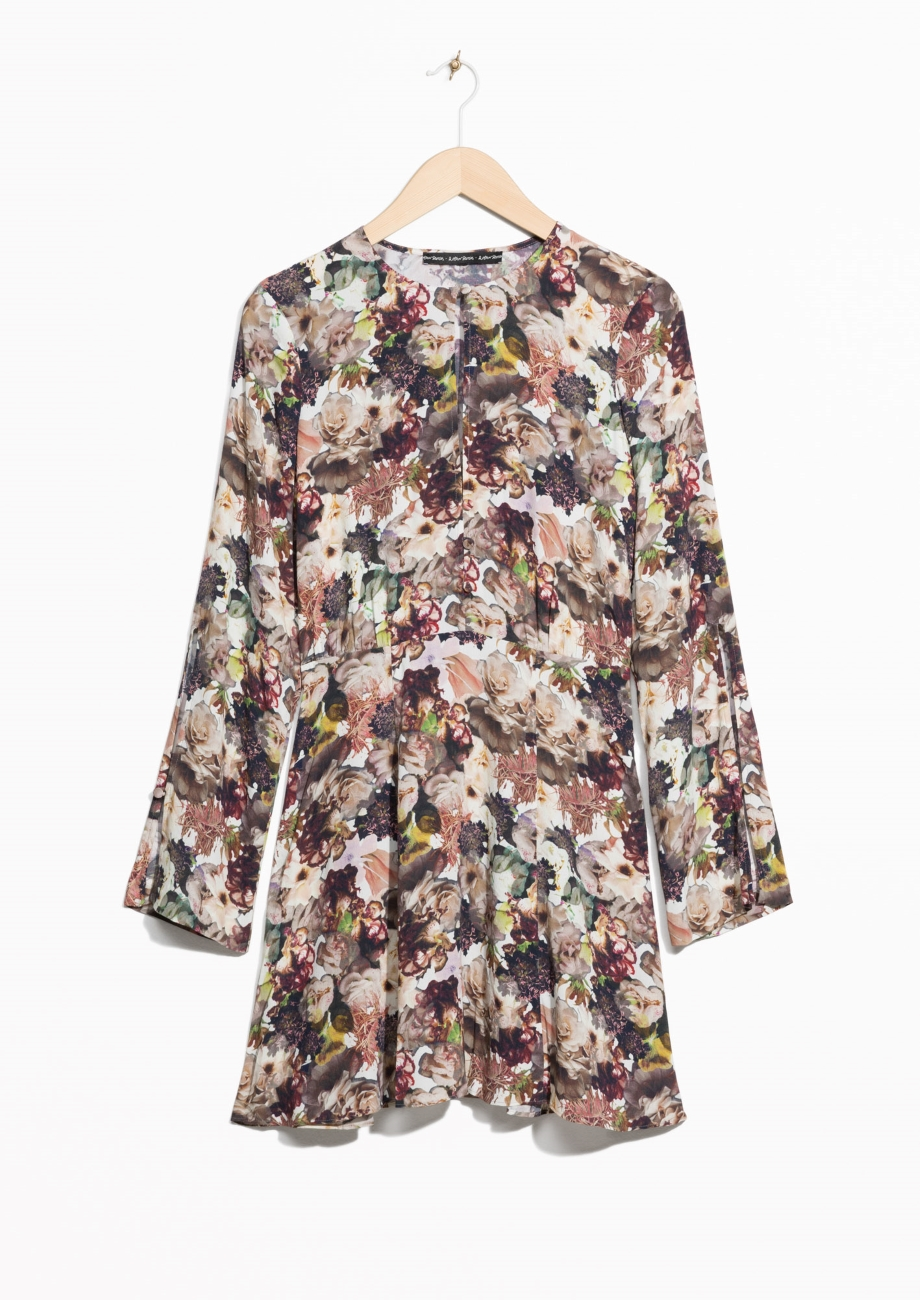 FLORAL SLIT SLEEVE DRESS