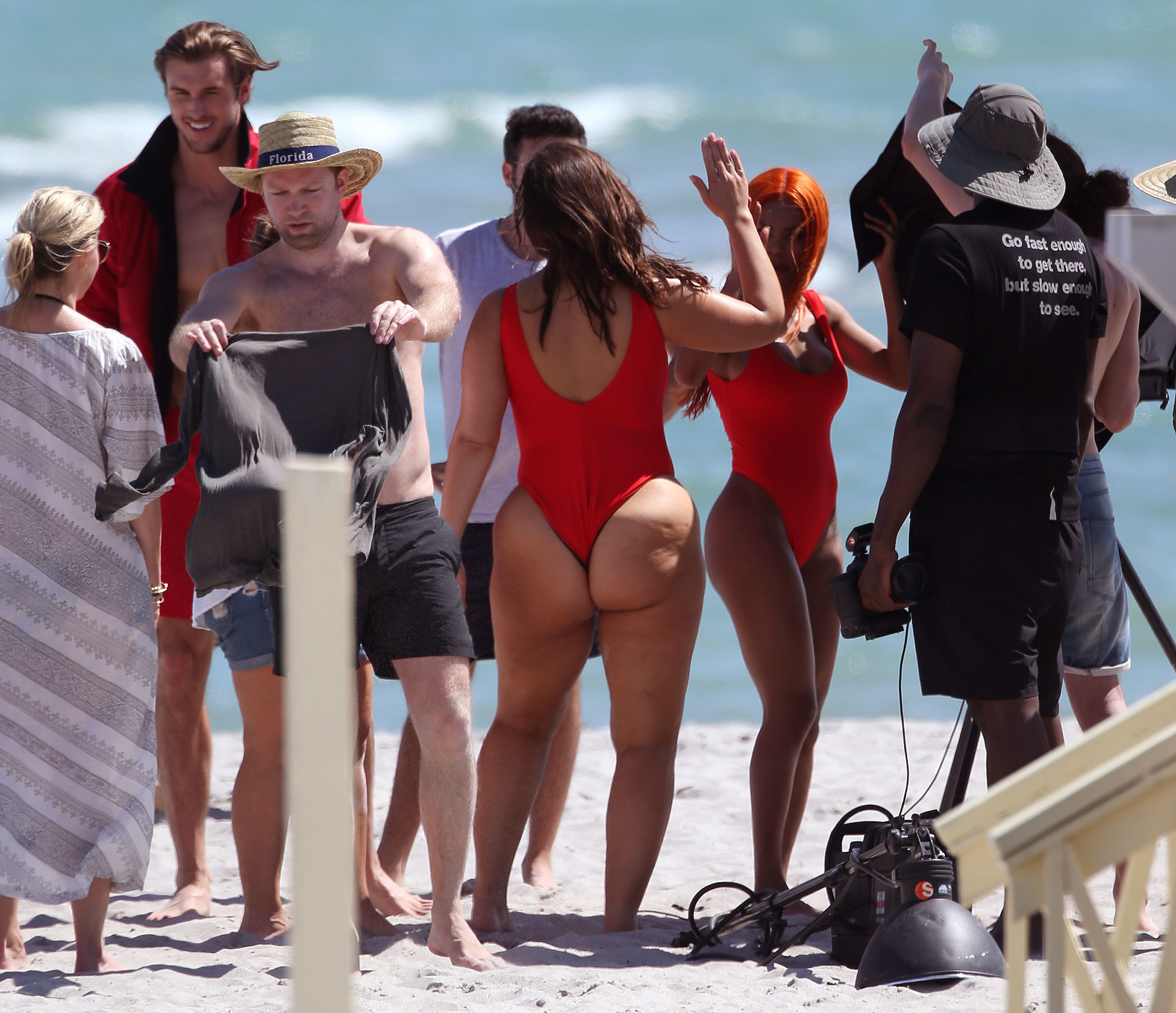 162479, Red Hot! Ashley Graham shows off her famous curves as she takes part in a 'Baywatch' themed photo shoot with Teyana Taylor on Miami Beach. Wearing a bright red Brazilian cut swimsuit, the plus sized beauty posed on a 'Bay Beach Patrol Ocean Rescue' jet ski, before taking it for a spin. Miami, Florida - Wednesday March 1, 2017. Photograph: Thibault Monnier, © Pacific Coast News. Los Angeles Office (PCN): +1 310.822.0419 UK Office (Photoshot): +44 (0) 20 7421 6000 sales@pacificcoastnews.com FEE MUST BE AGREED PRIOR TO USAGE