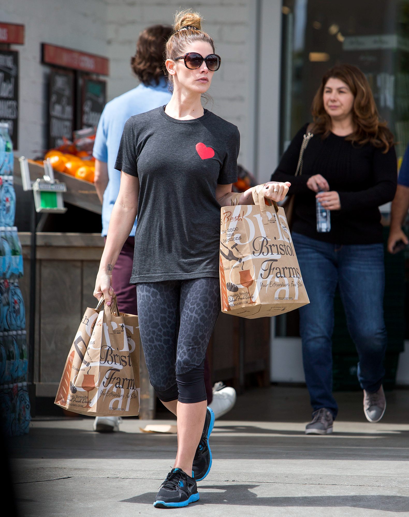 Ashley Greene wears her heart on her t-shirt as she picks up groceries at 'Bristol Farms' in Beverly Hills,CA.