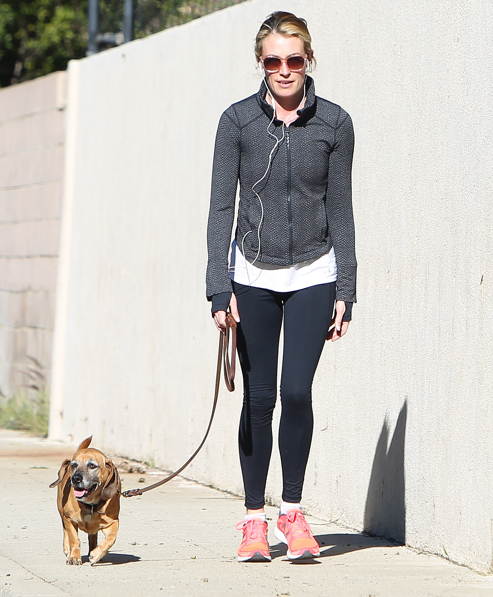 EXCLUSIVE: Cat Deeley takes her dog for a walk this morning in Beverly Hills