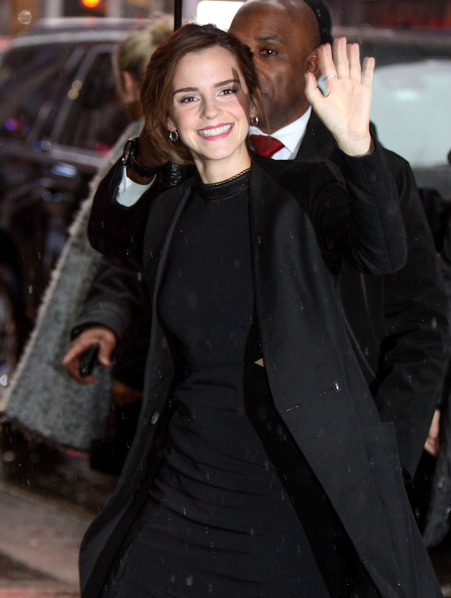 Emma Watson pictured arriving to promote her new Disney movie 'Beauty and The Beast' at the 'Good Morning America' show in Times Square, Manhattan