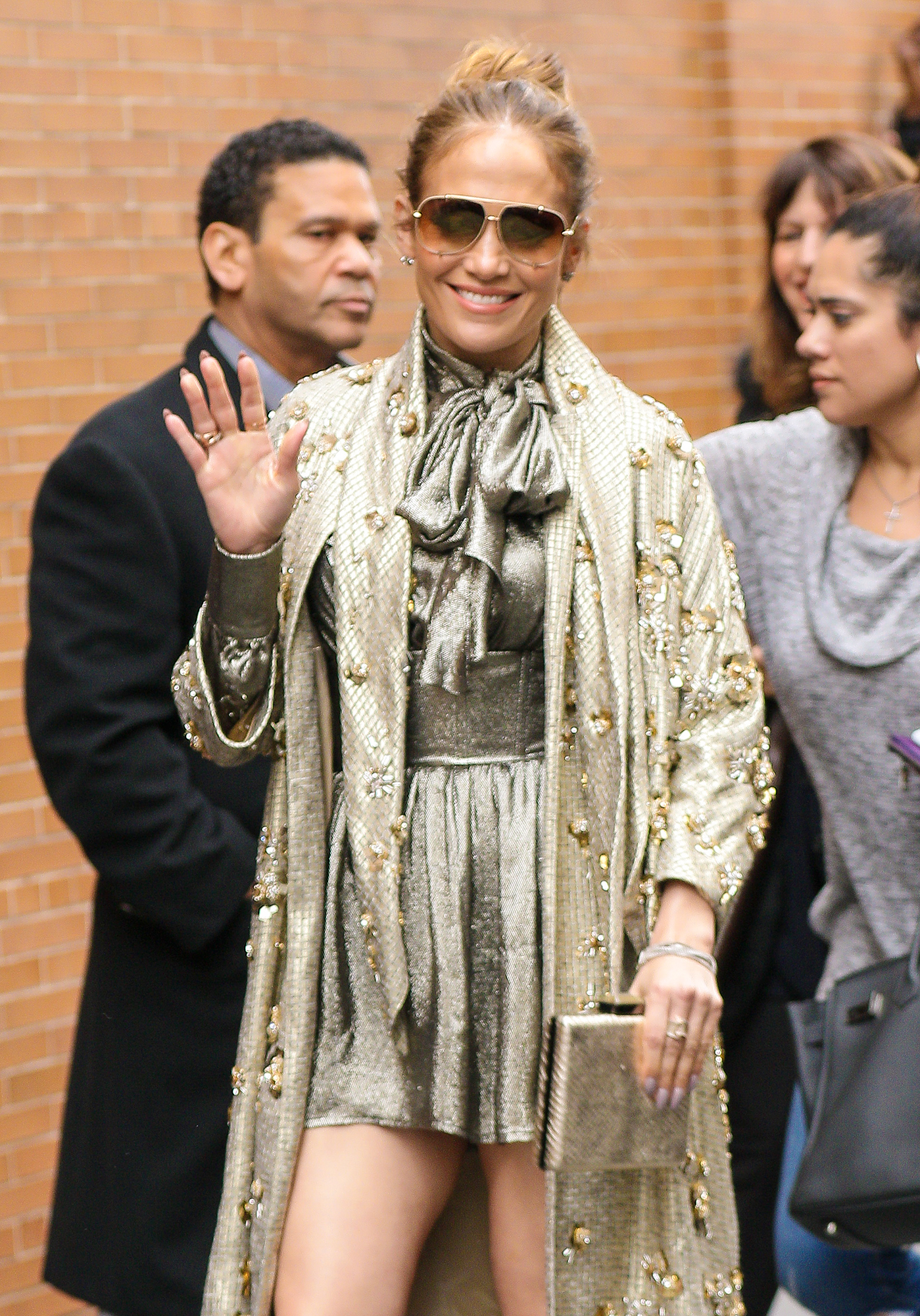 Jennifer Lopez is seen exiting her appearance from The View in New York City.