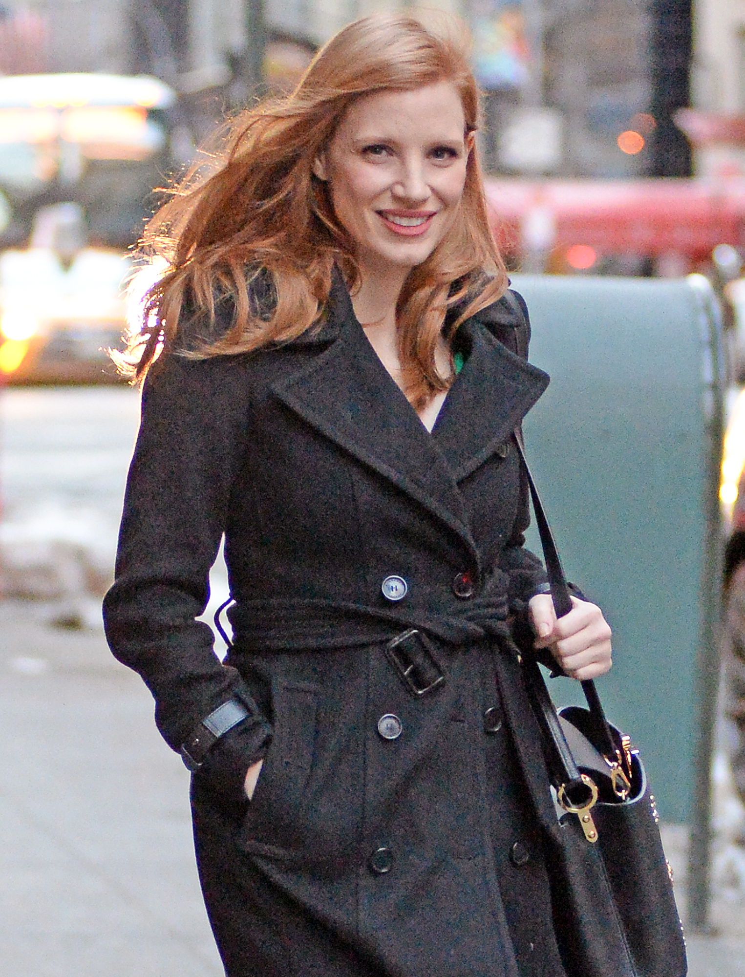 Jessica Chastain is all smiles while leaving her apartment in New York City