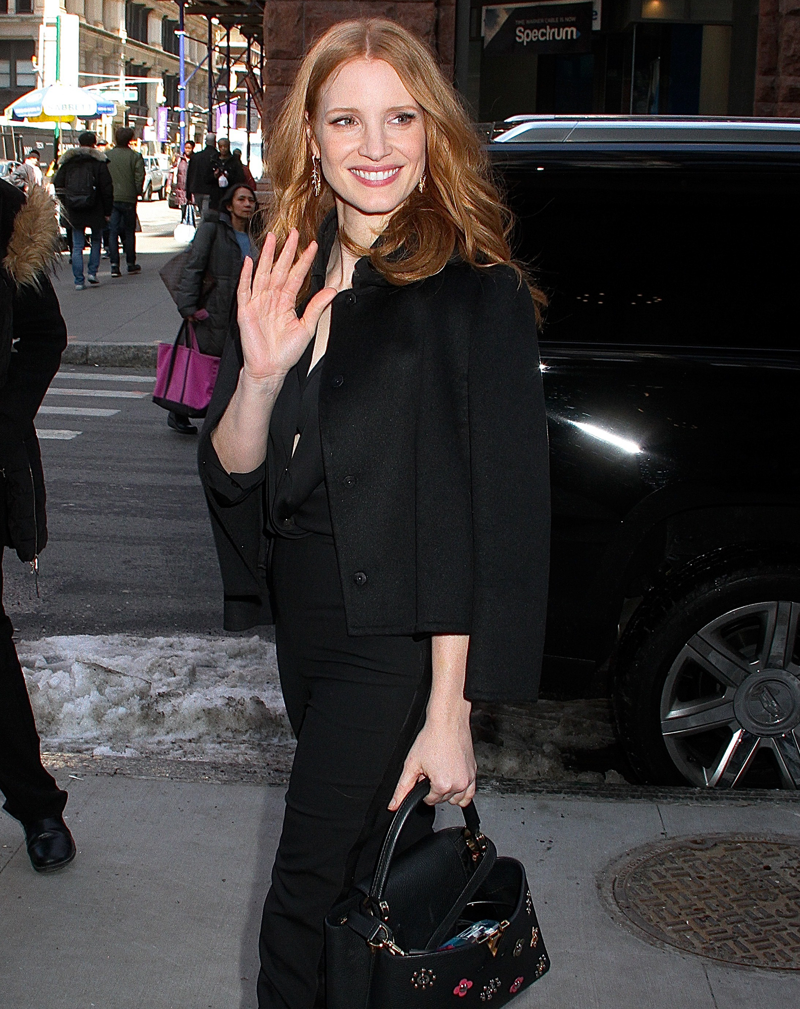 'The Zookeeper's Wife' star Jessica Chastain spotted arriving at 'AOL Build' in NYC
