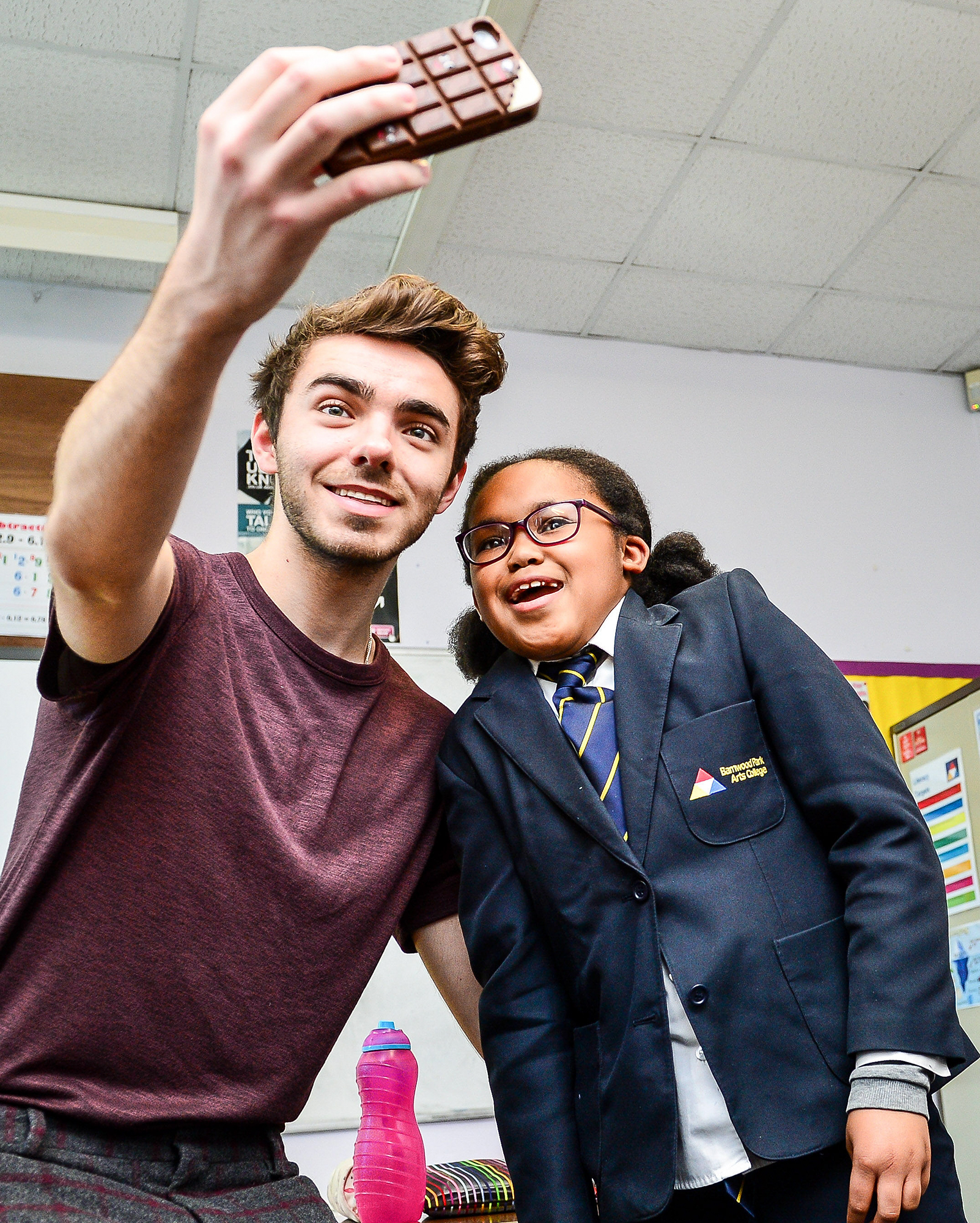 Nathan Sykes Charity Visit To Barnwood Park Arts College