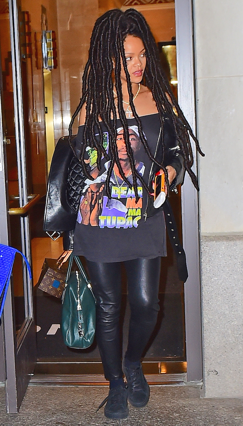 Rihanna Shows Off Her Amazing Long Dreadlocks as she Heads out to Dinner in NYC