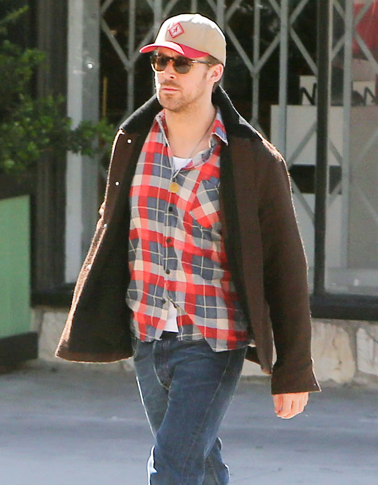 Ryan Gosling looks lumberjack chic as he is spotted having breakfast by himself at Little Dom's in Los Angeles.