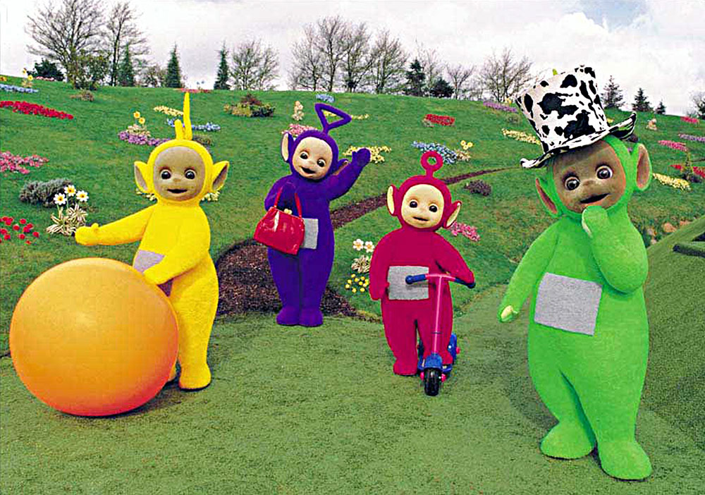 TELETUBBIES, Laa-Laa, Tinky Winky, Po, Dipsy, with their favorite things, 1996. (c)Ragdoll Ltd. Cour
