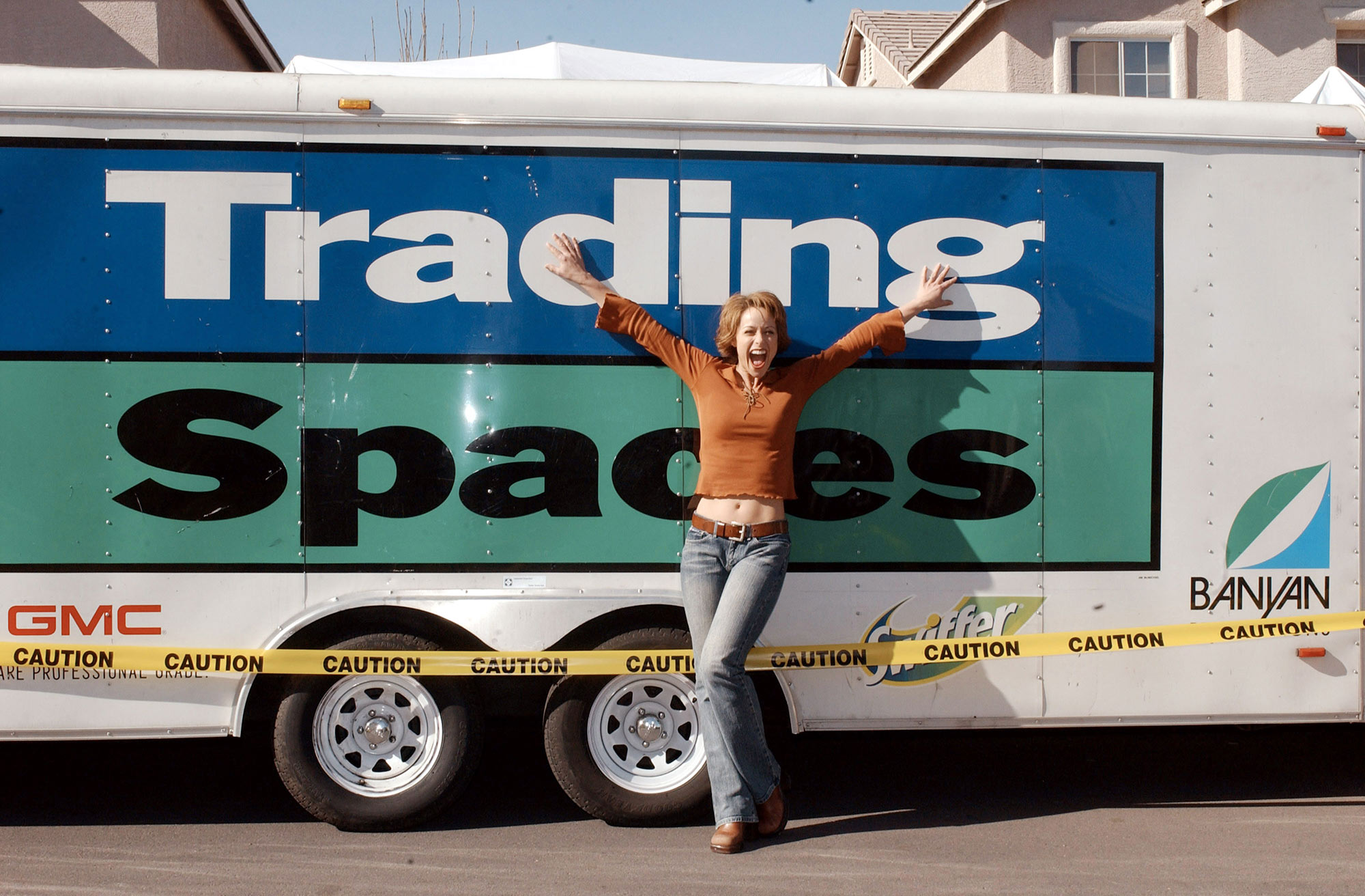 "Paige Davis and Vern Yip on Location for ""Trading Spaces"" in Las Vegas on January 25, 2003"