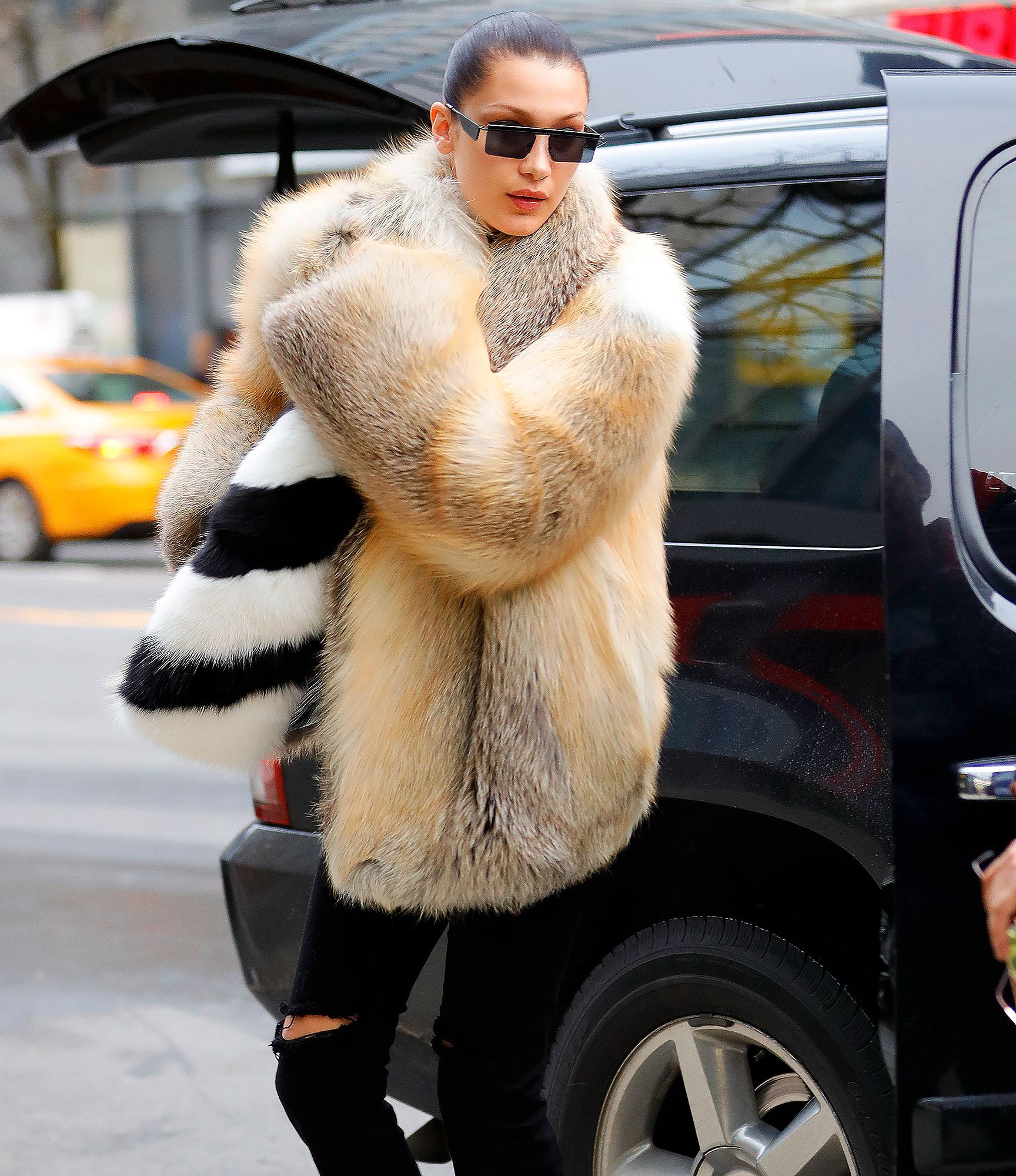 Bella Hadid wears fur when out and about in New York