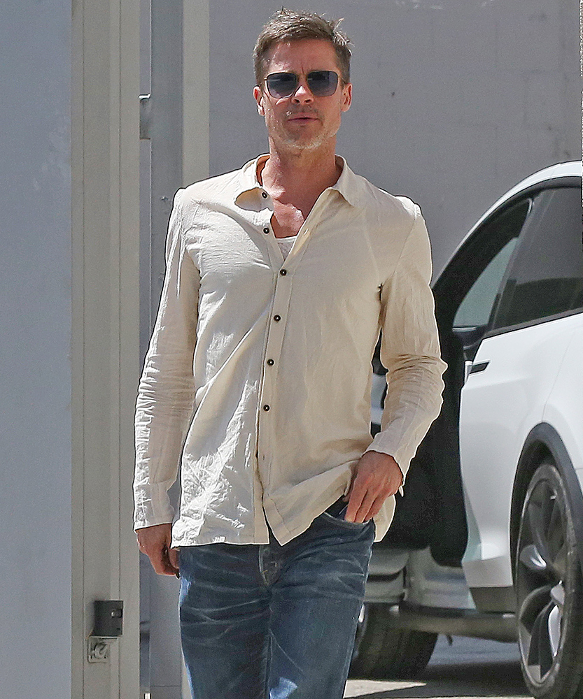 Skinny Brad Pitt can't hide his protruding collarbone as he steps out in LA over the weekend.