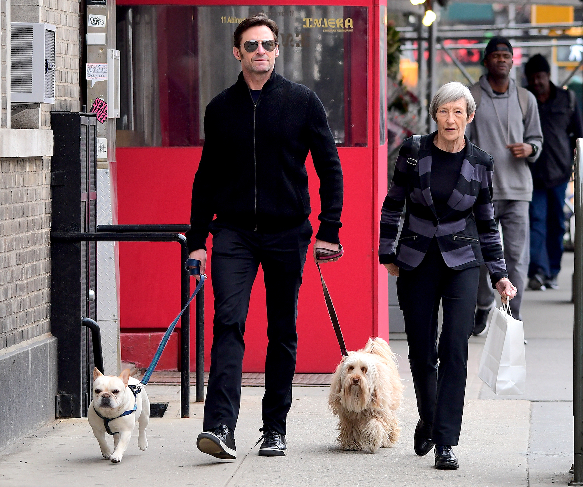 EXCLUSIVE: Hugh Jackman Enjoys Sunny Stroll and Spends Quality time with his Mom and 2 Dogs