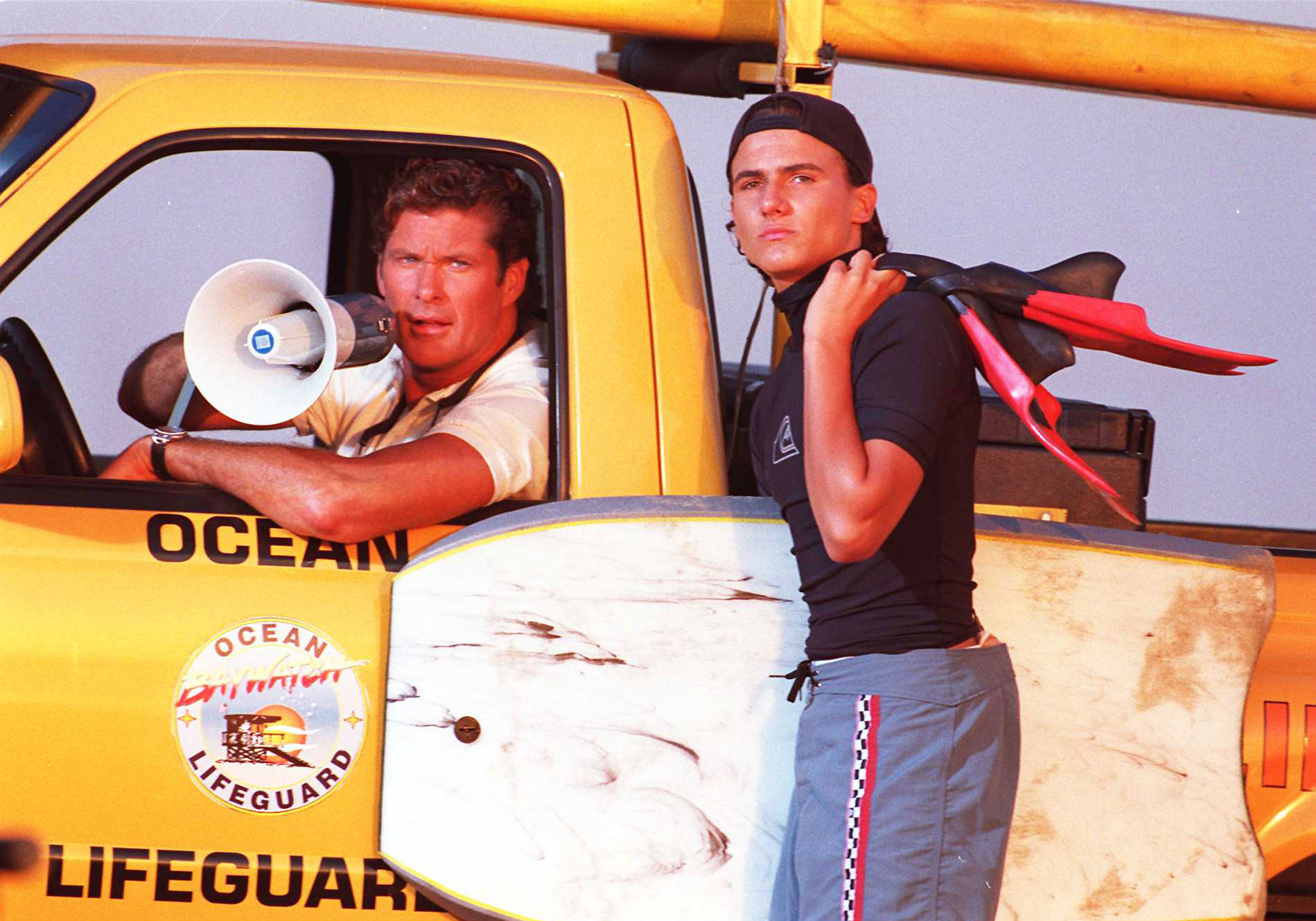 Venice Beach Calif David Hasselhoff And Co Star Jeremy Jackson From The T V Show Bayw