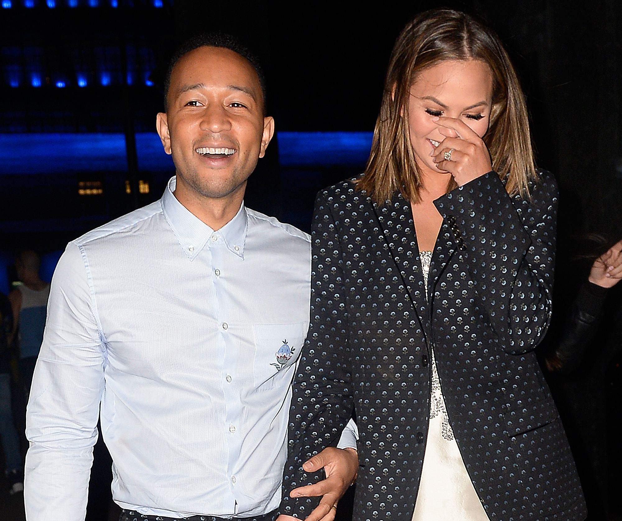 EXCLUSIVE: Chrissy Teigen and John Legend are all smiles as they head out to party in New York City