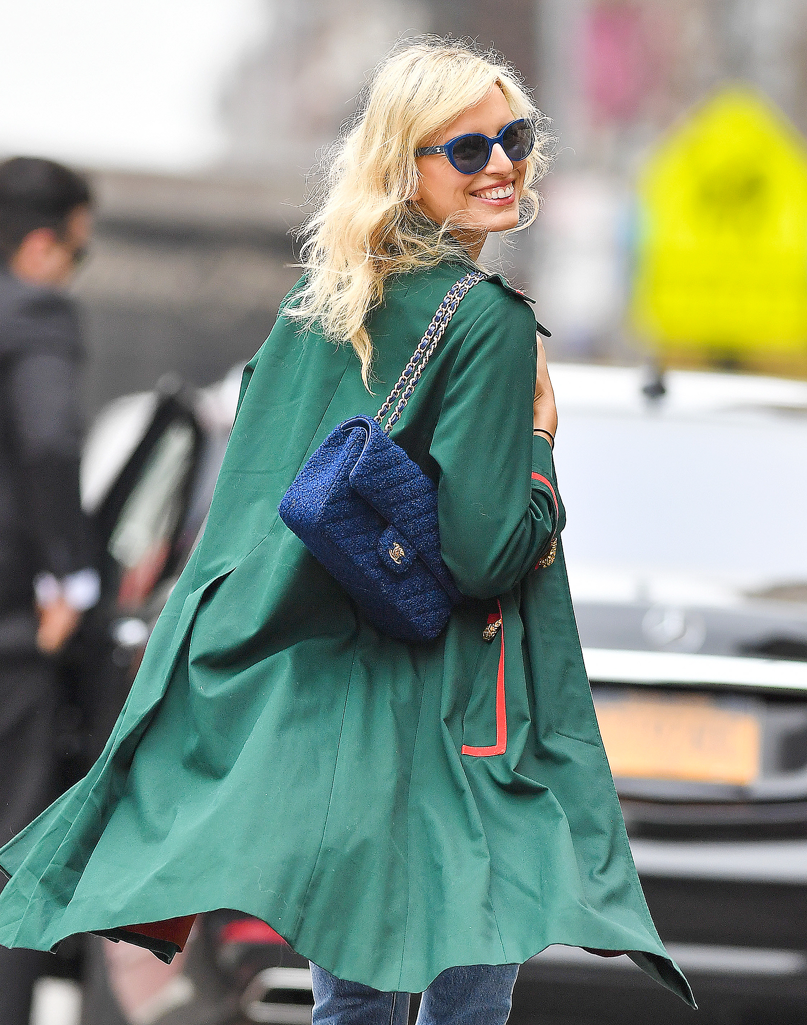 EXCLUSIVE: Karolina Kurkova wears a Forces of Nature shirt and carries a Chanel purse in New York City