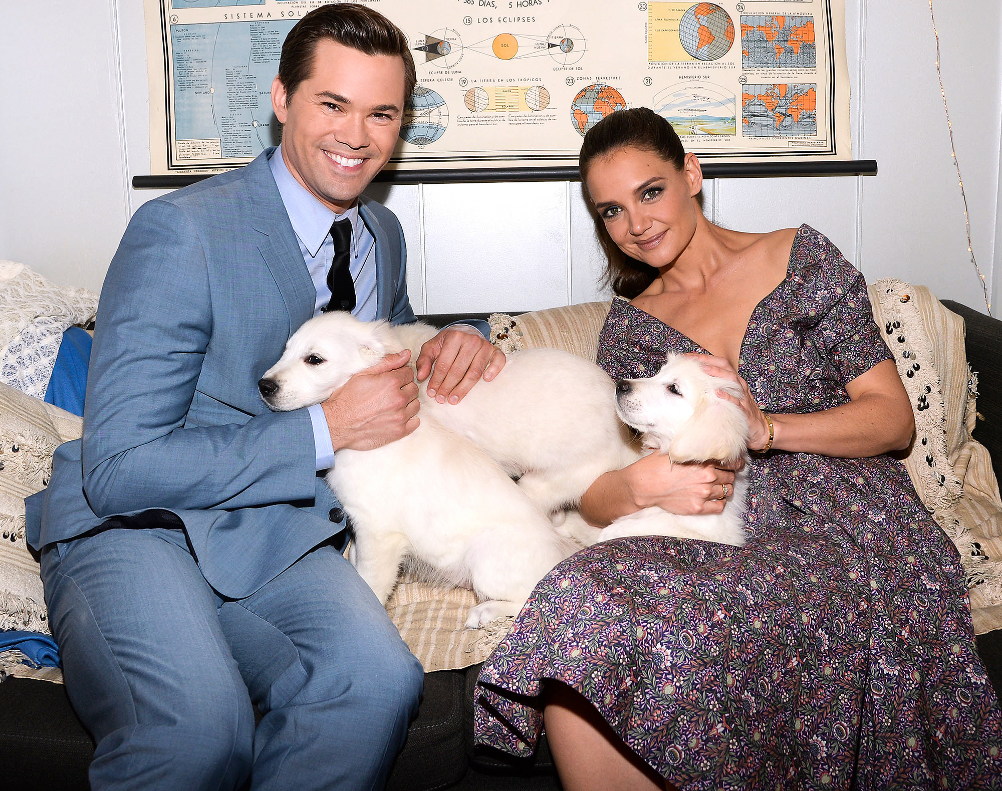 Katie Holmes and Andrew Rannells Backstage at The Tonight Show