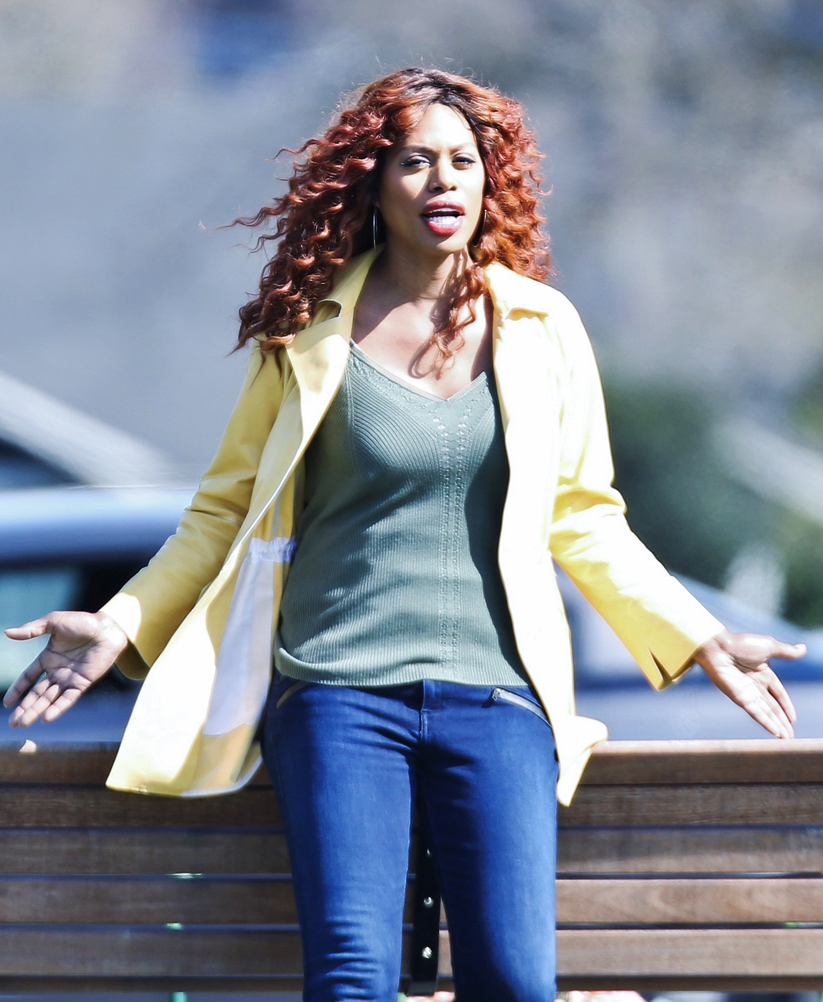 Exclusive... Laverne Cox And Meaghan Rath On The Set Of 'The Trustee' In Vancouver