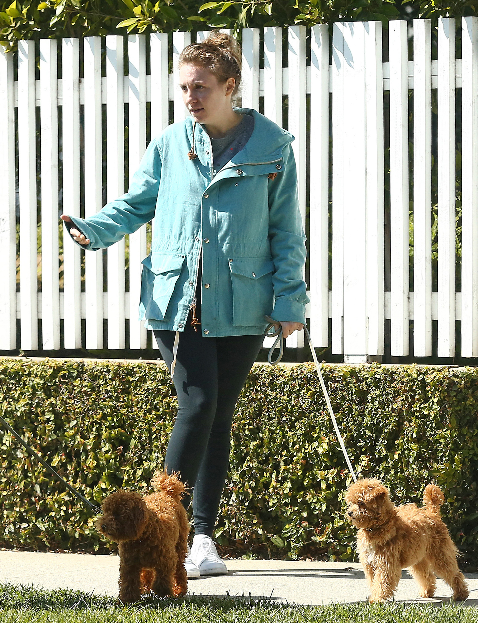 Exclusive... Lena Dunham & A Friend Take Their Dogs Out In LA