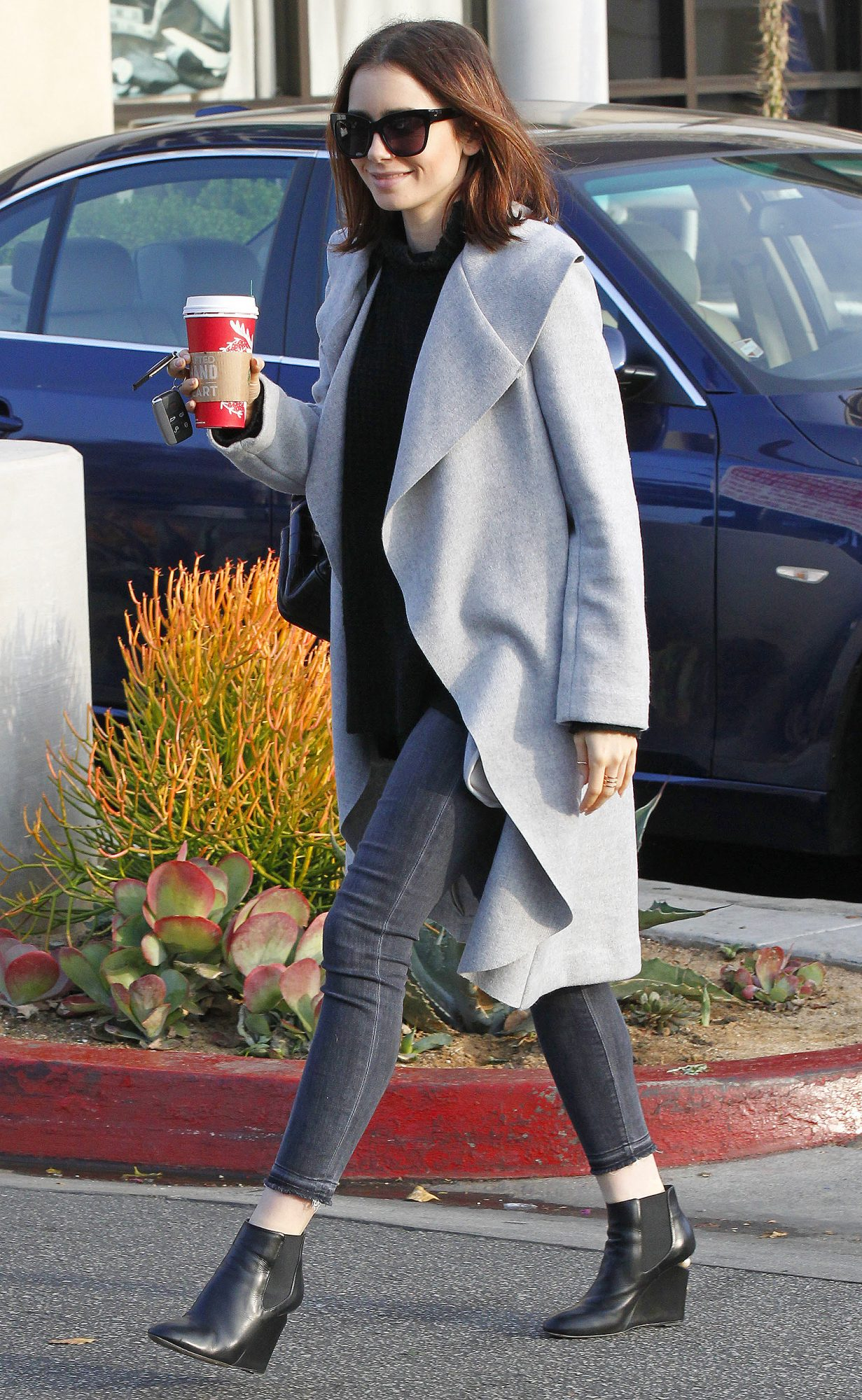 EXCLUSIVE: Lily Collins seen at The London Hotel in West Hollywood
