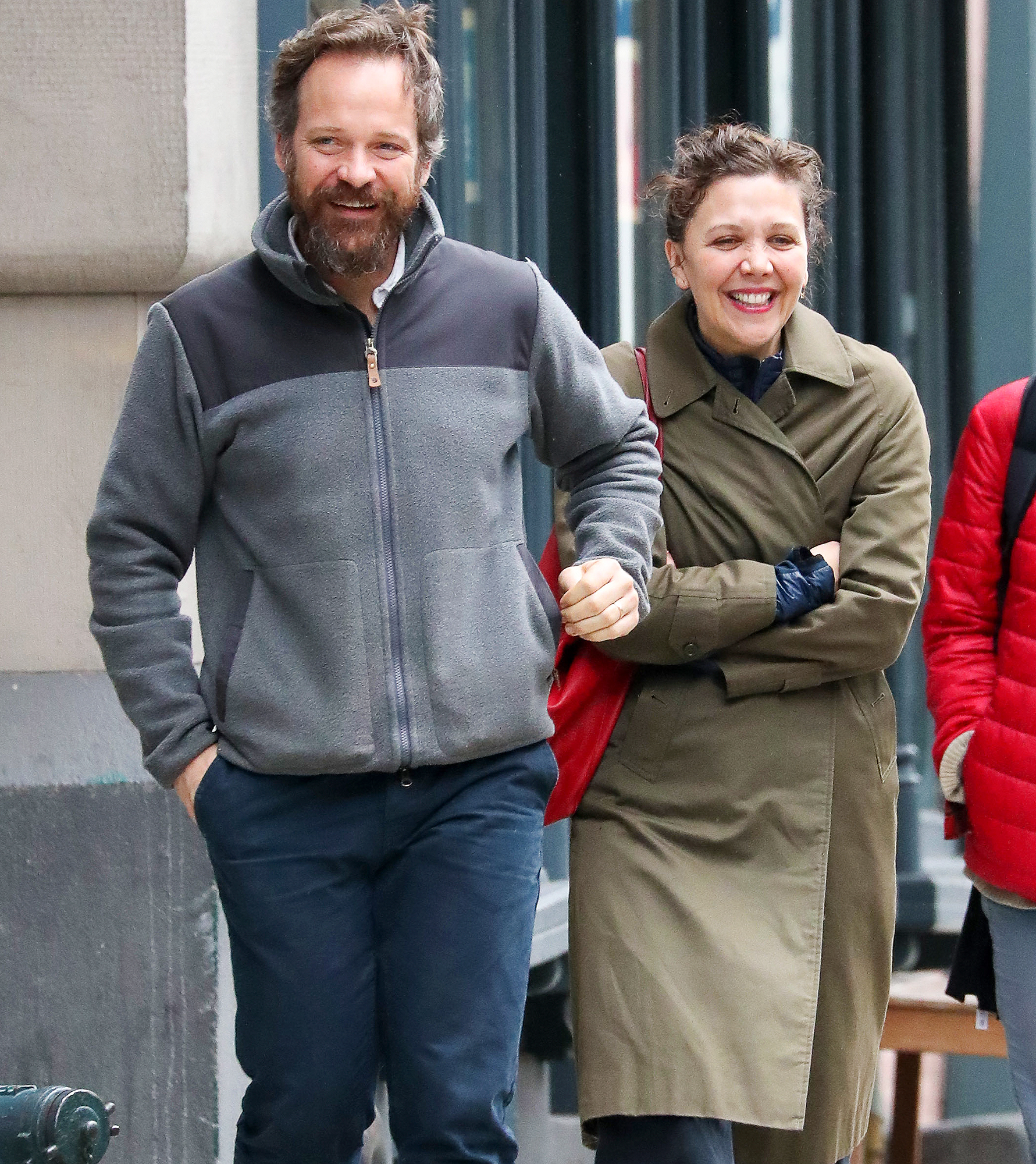 EXCLUSIVE: Maggie Gyllenhaal and Peter Sarsgaard Chat on the Street in NYC.