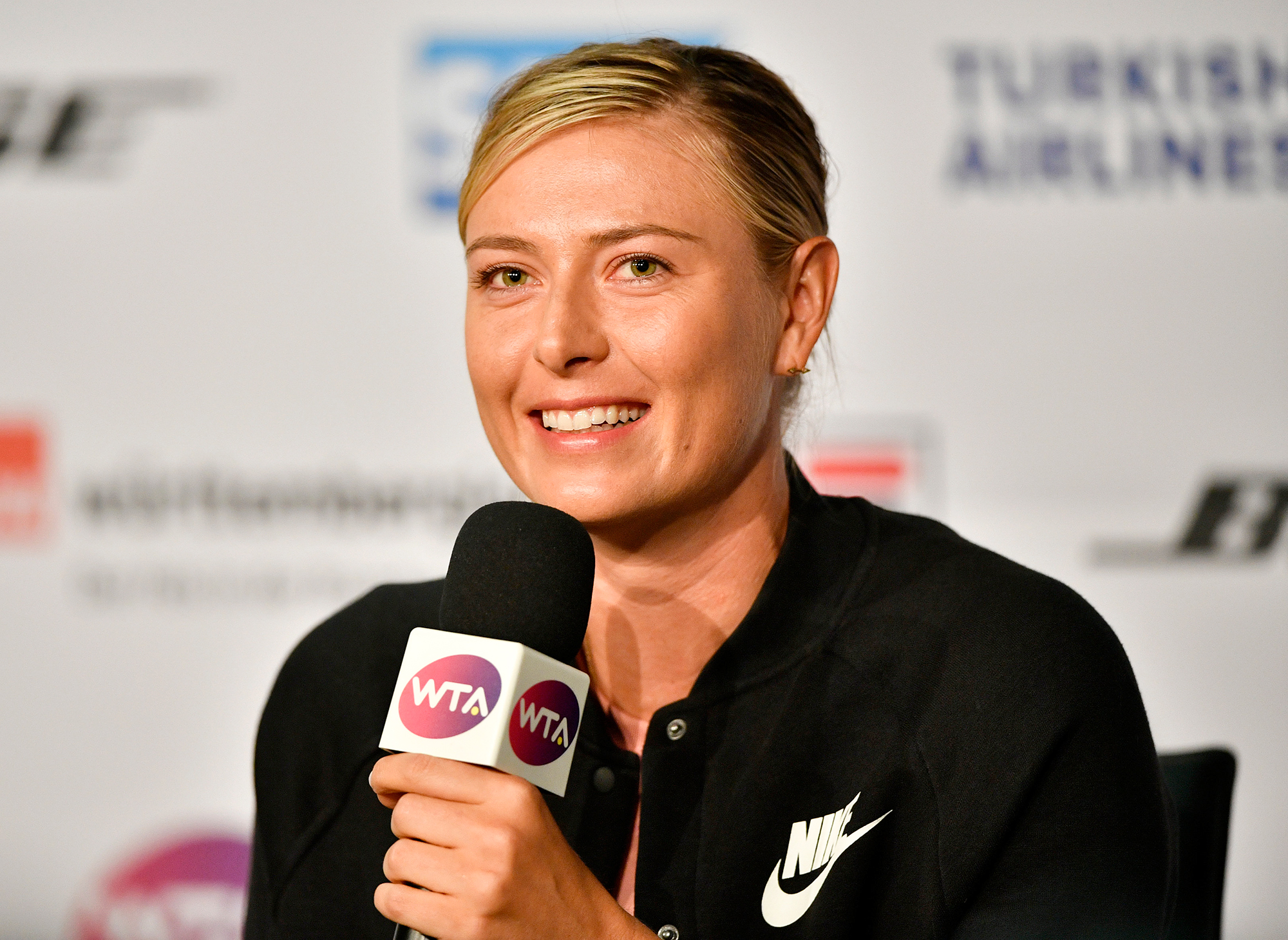 Maria Sharapova press conference during the WTA Porsche Tennis Grand Prix at the Porsche Arena, Stuttgart, Germany - 28 Apr 2017