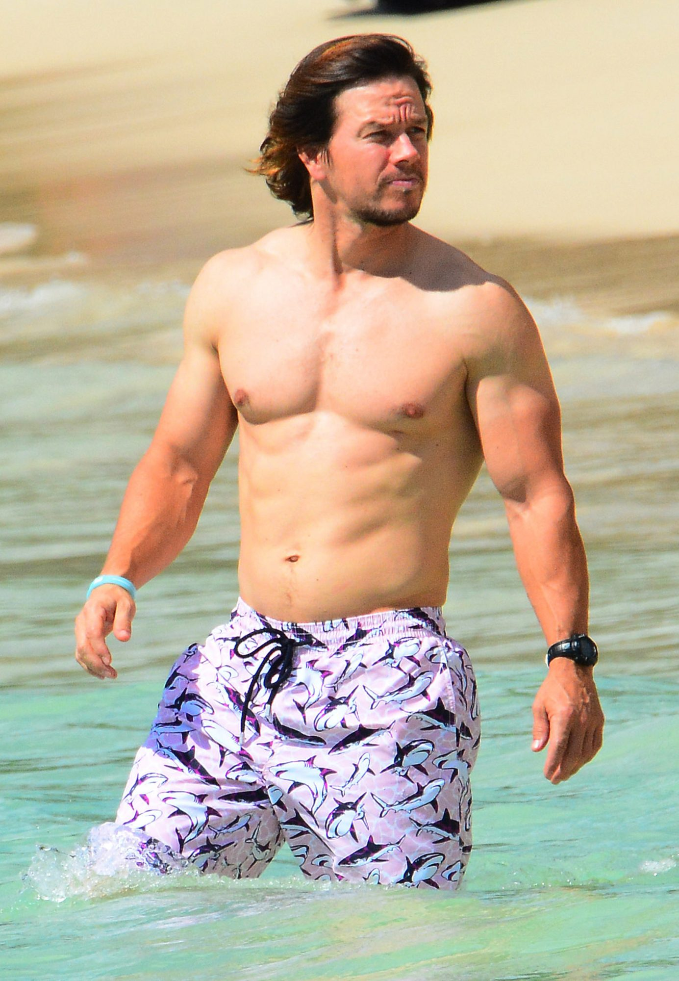Mark Wahlberg and wife Rhea spotted at the beach while on holiday in Barbados