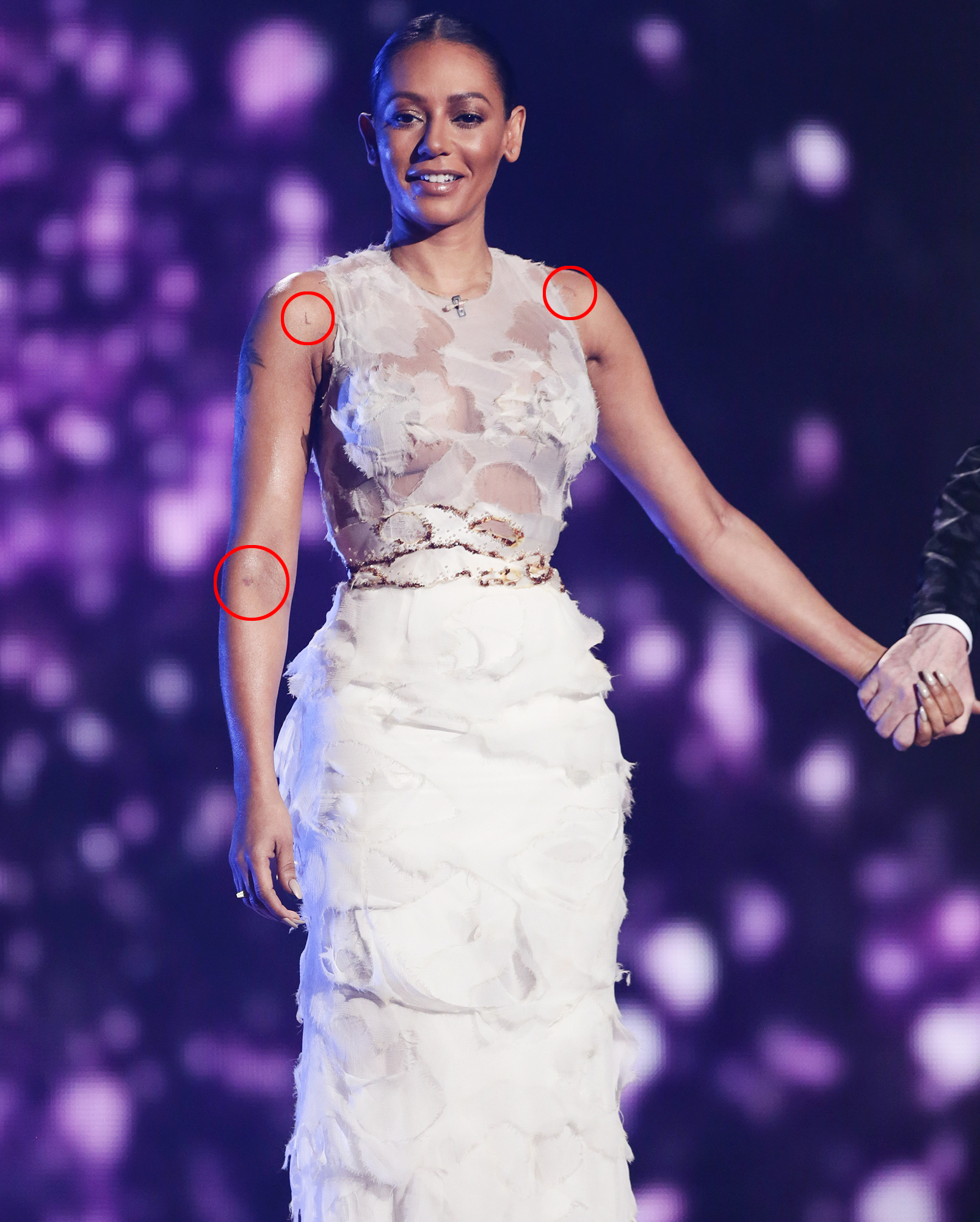 X Factor judges Mel B and Cheryl Fernandez-Versini are seen at the live X Factor final in London.