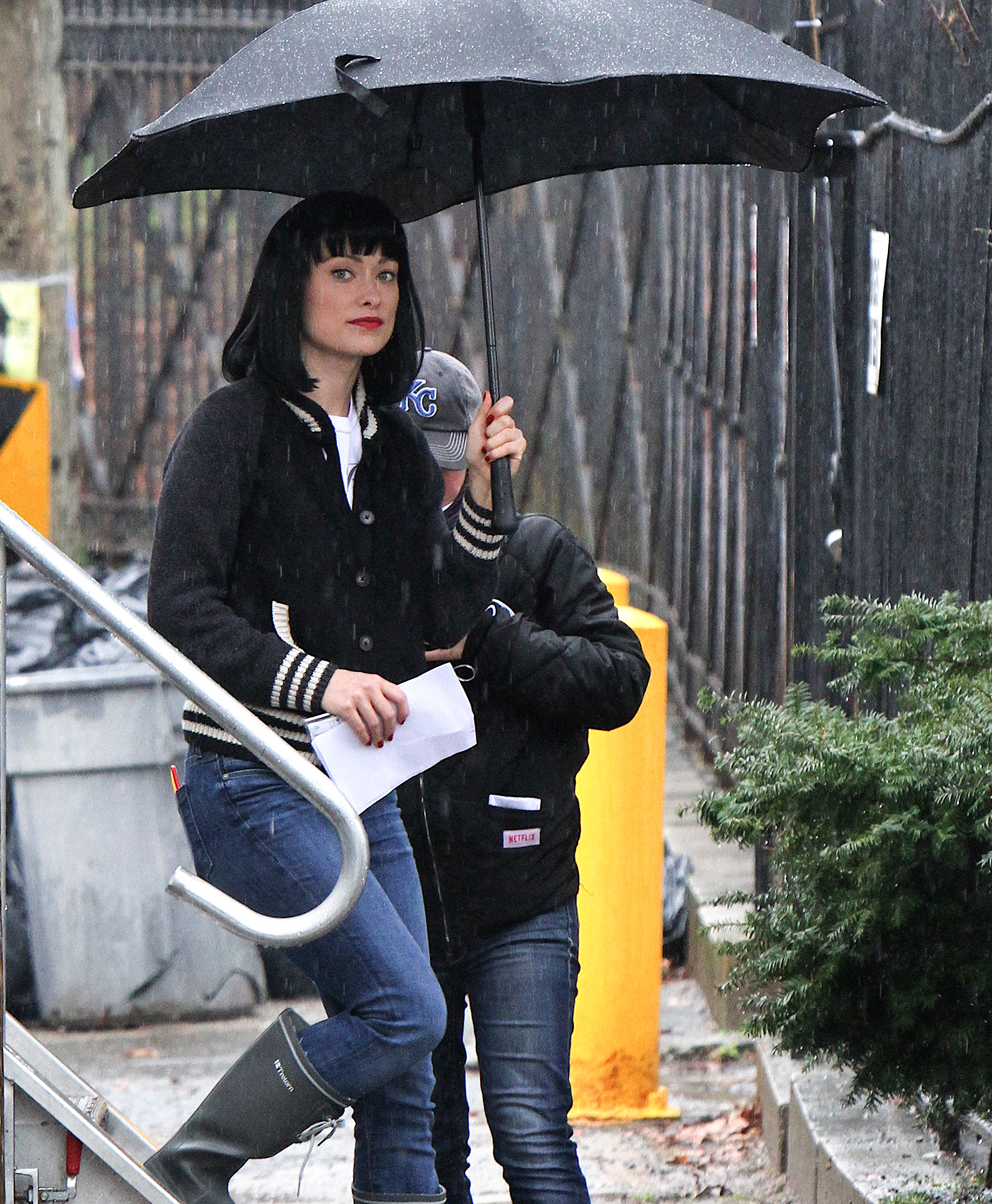 "Olivia Wilde wearing a black wig at the ""Life Itself"" movie set in NYC"
