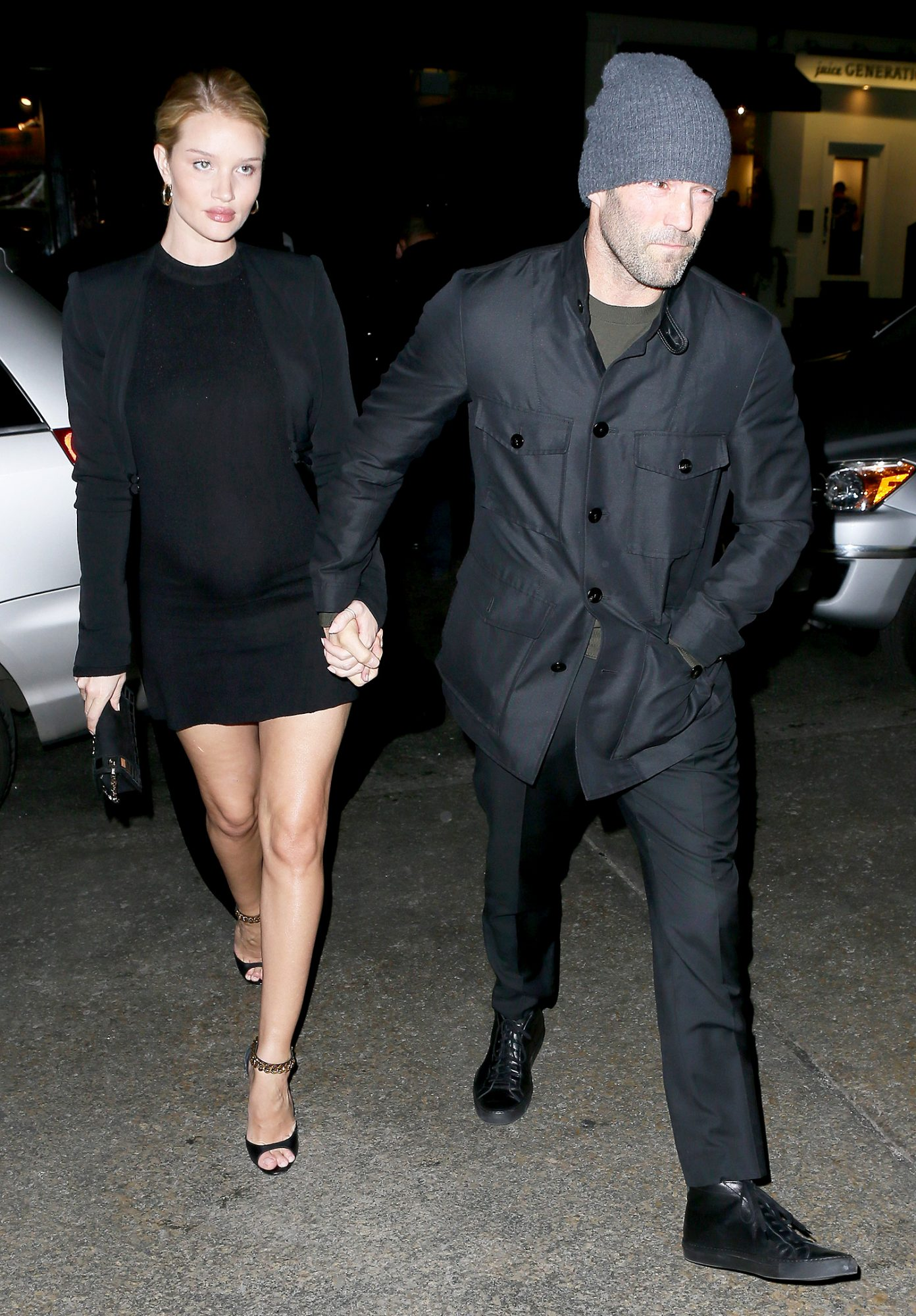 Rosie Huntington-Whiteley and fiancé Jason Statham have dinner with his family