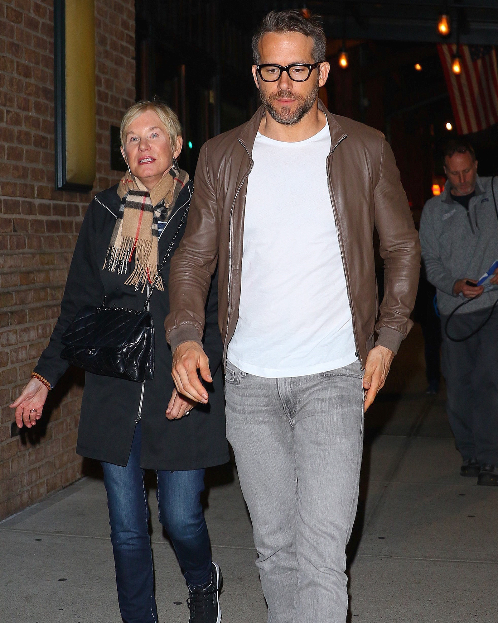 *EXCLUSIVE* Ryan Reynolds goes for an evening stroll with his mom Tammy Reynolds