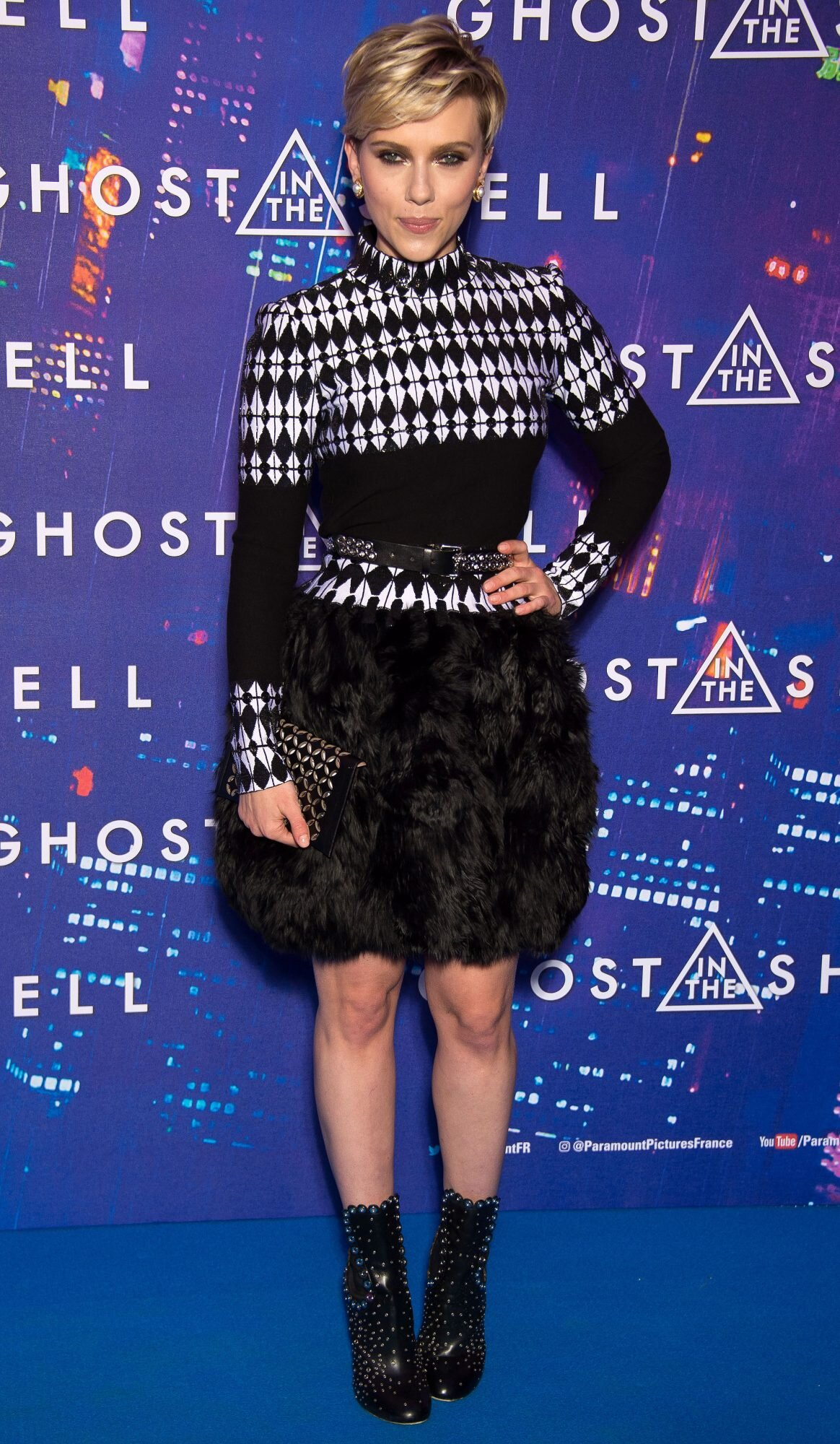 Scarlett Johansson In Azzedine Alaia At Ghost In The Shell Paris Premiere People Com