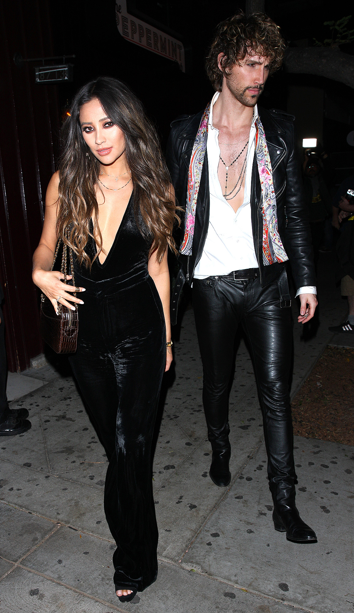 Shay Mitchell and a mystery man leave the Peppermint club after attending Jessica Alba's 36th birthday party