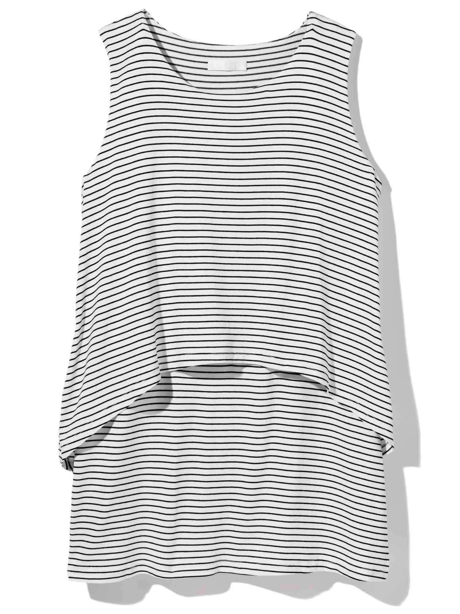 AU LAIT WHITE TOP WITH THIN BLACK STRIPES Mother's Day Gift GuideEllie Kemper