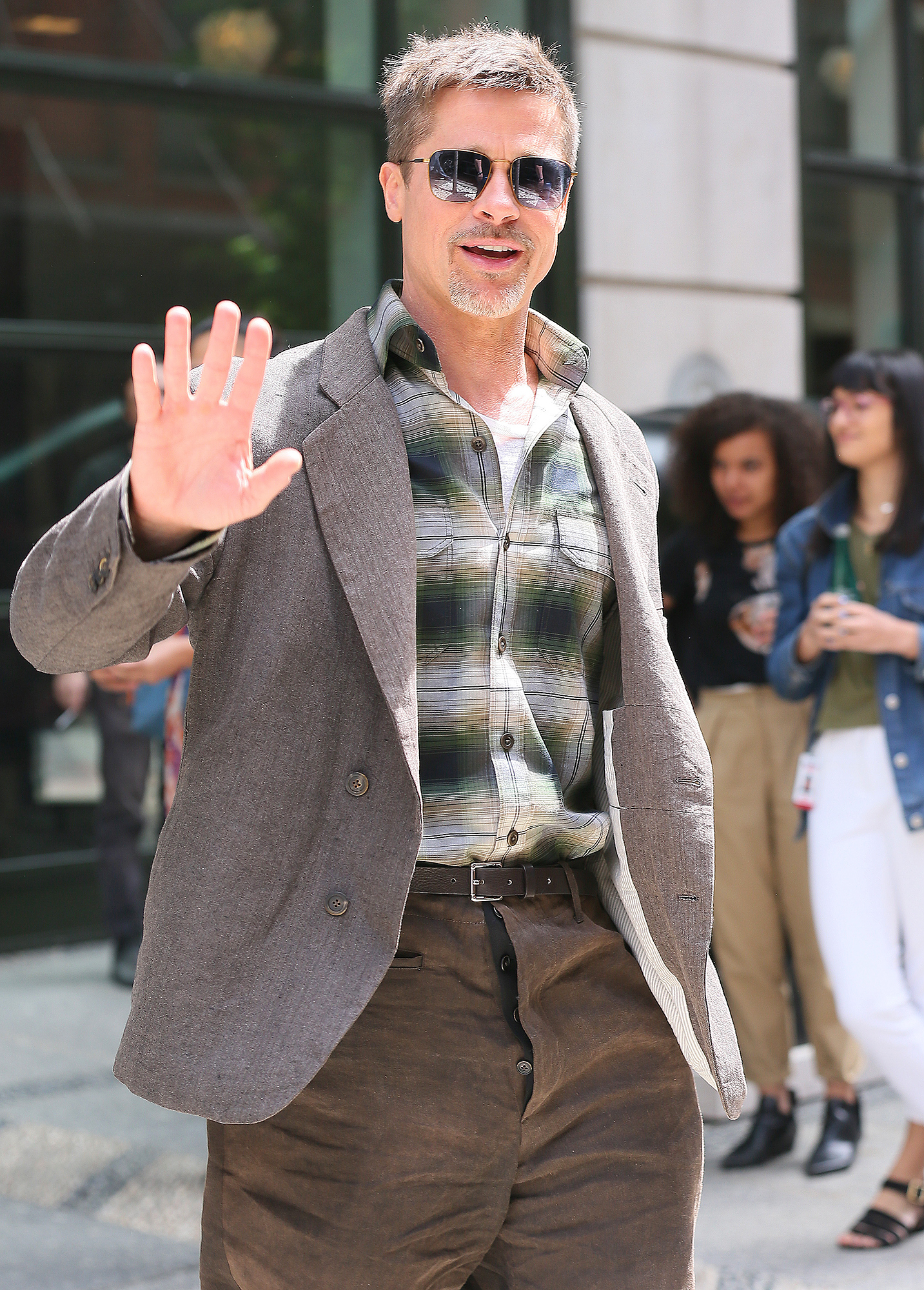 Brad Pitt seen leaving his New York Hotel.