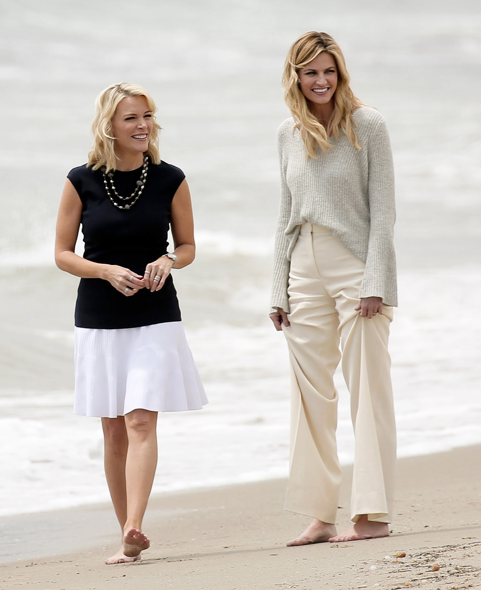 EXCLUSIVE: Television presenters Megyn Kelly and Erin Andrews look the best of pals as the pair appear to be conducting an interview while strolling along the beach in Santa Monica