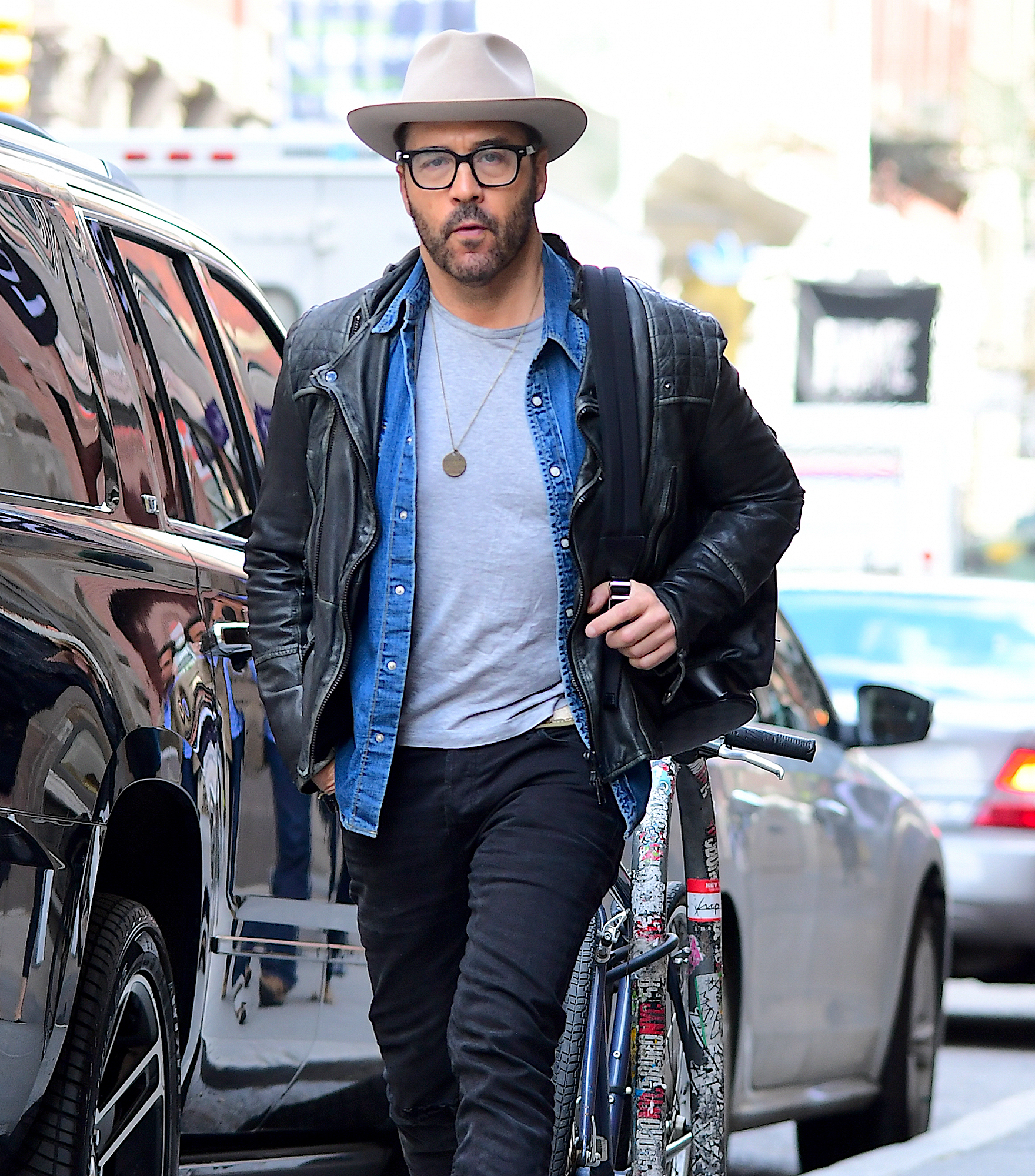 EXCLUSIVE: Jeremy Piven Spotted Shopping in Soho NYC wearing a Fedora and Leather Jacket
