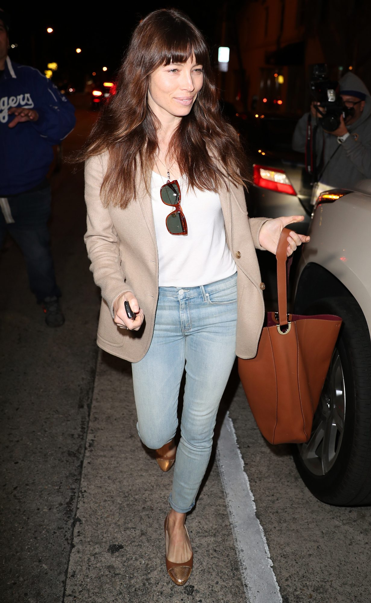 Jessica Biel goes casual in blue jeans and a blazer while leaving her restaurant Au Fudge