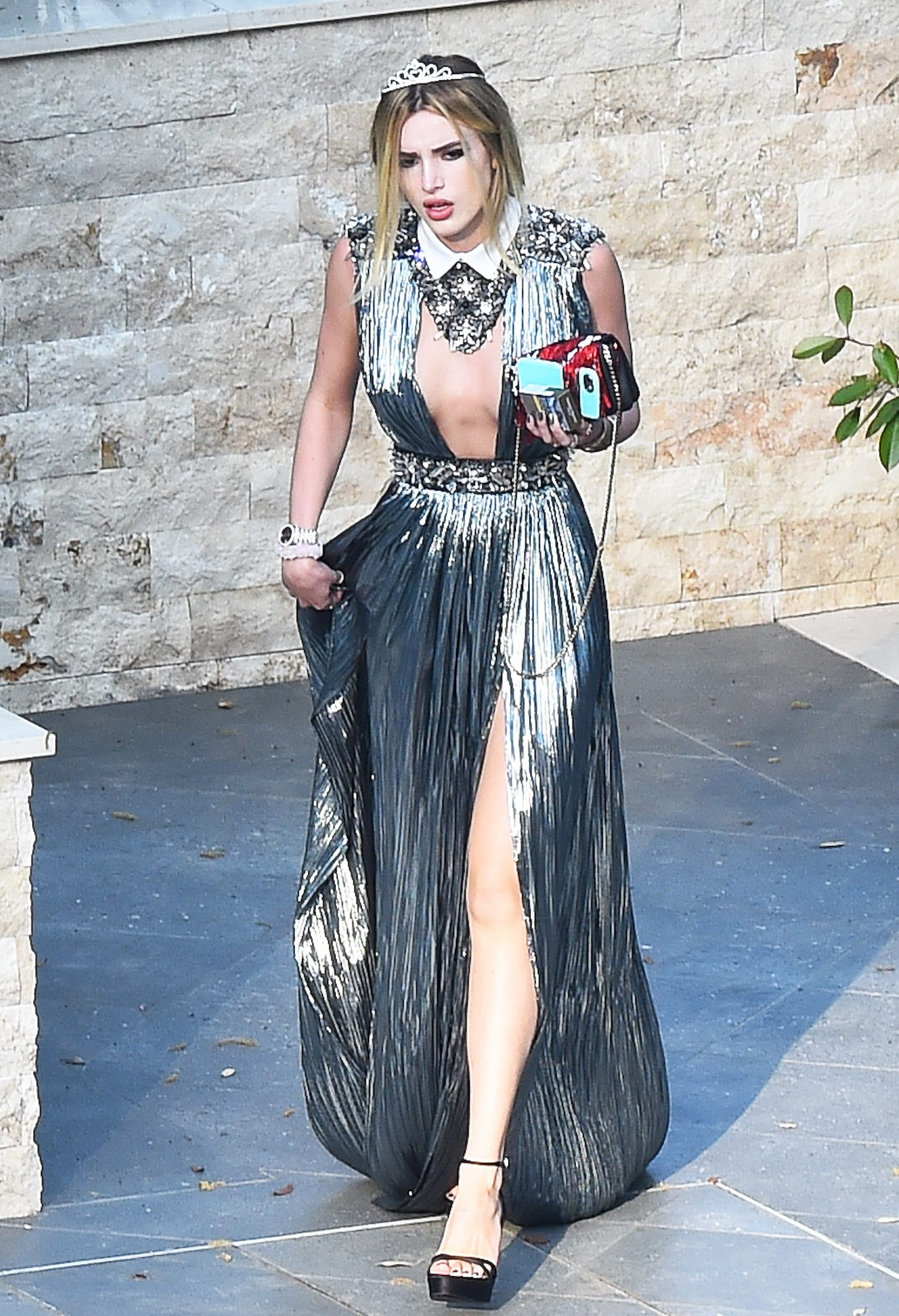 EXCLUSIVE: Bella Thorne is seen leaving her Luxury Villa dressed to impress as she goes to an event in Cannes