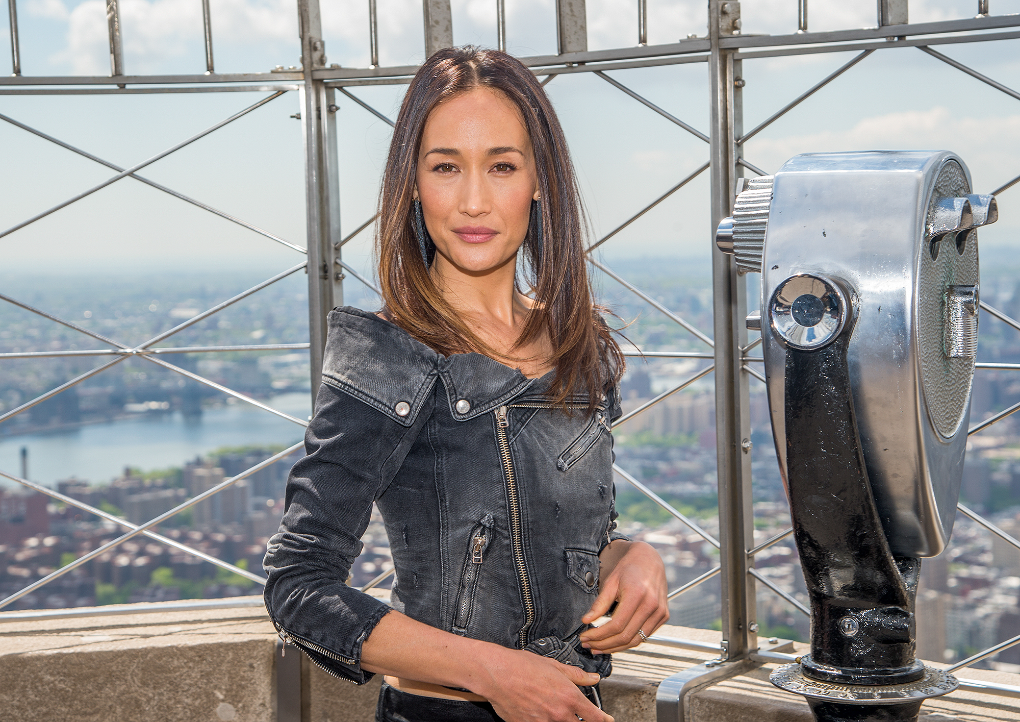 Maggie Q Visits The Empire State Building
