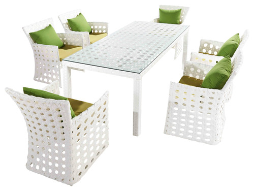 Outdoor Orchard 6-Seat Patio Dining Set, Grass Green