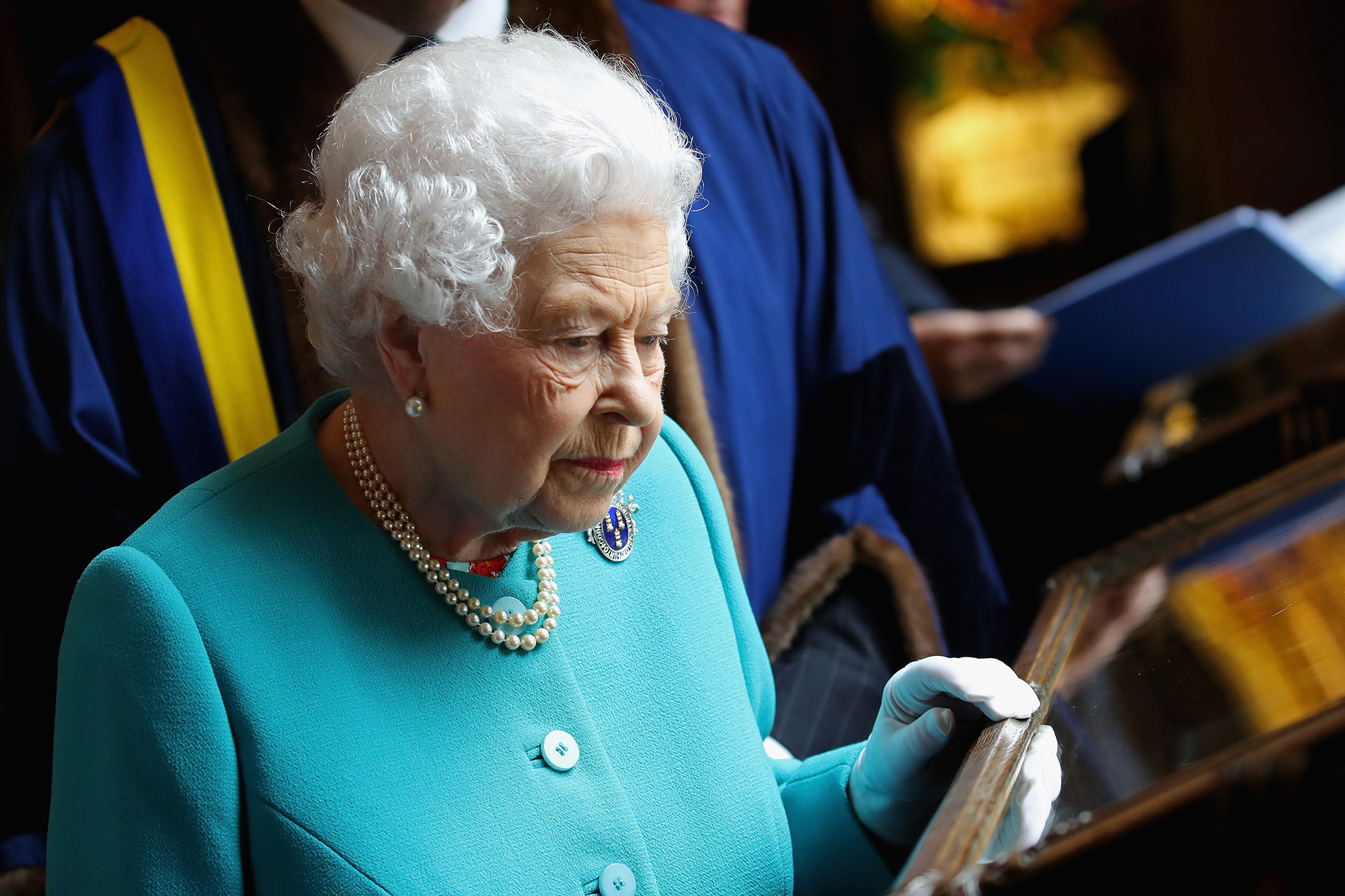 The Queen Visits Drapers' Hall For Luncheon On The 70th Anniversary Of Her Majesty's Admission To The Freedom Of The Company