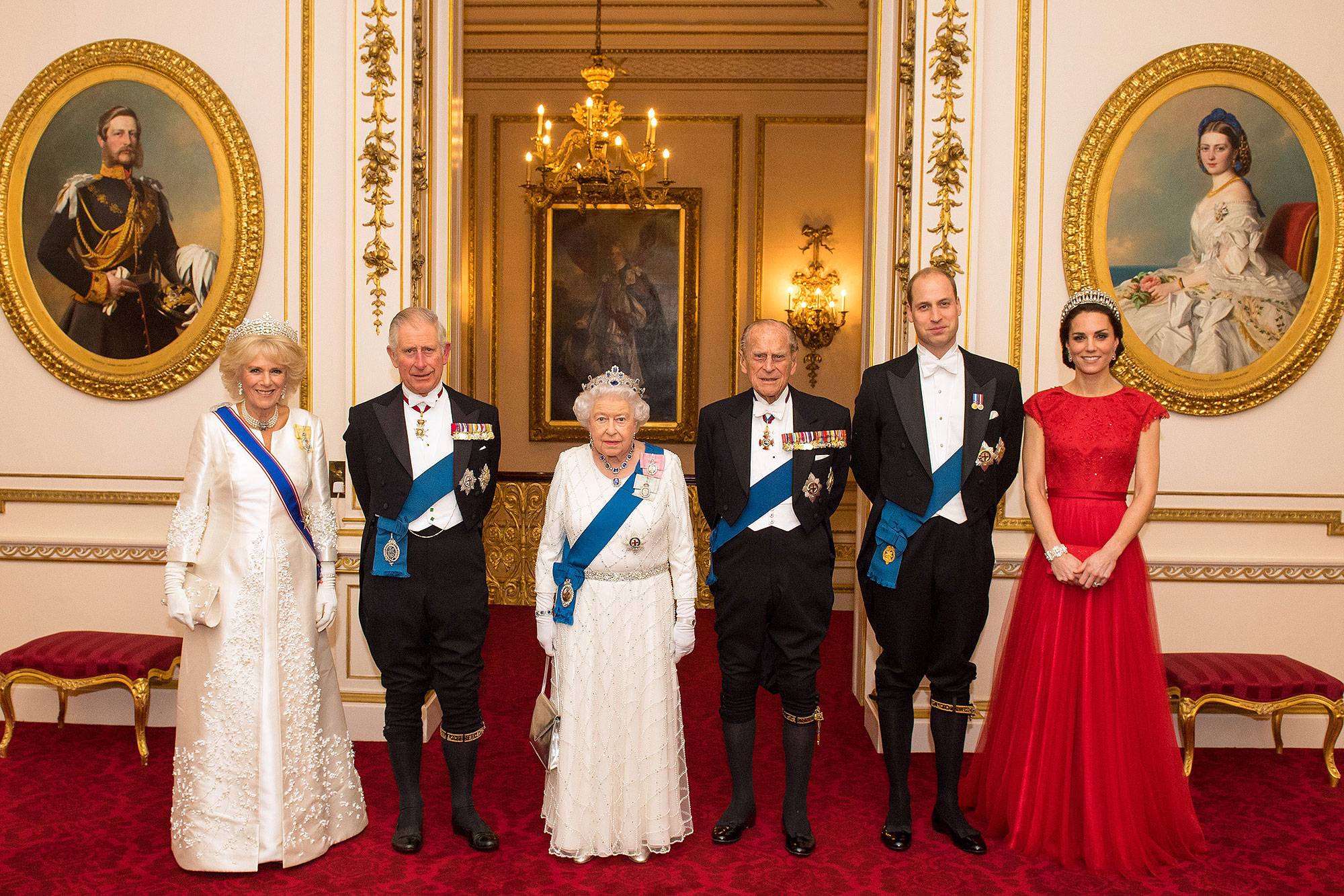 The Queen, The Duke of Edinburgh, The Prince of Wales, The Duchess of Cornwall and The Duke and Duchess of Cambridge attend the Queen's Diplomatic Reception at Buckingham Palace, London, UK, on the 8th December 2016. Picture by Dominic Lipinski/WPA-Pool. 08 Dec 2016 Pictured: Camilla, Duchess of Cornwall, Prince Charles, Prince of Wales, Queen, Queen Elizabeth, Prince Philip, Duke of Edinburgh, Prince William, Duke of Cambridge, Catherine, Duchess of Cambridge, Kate Middleton.