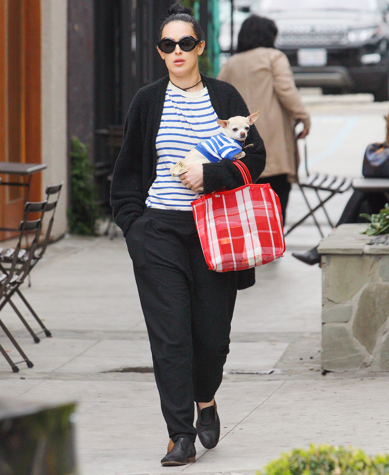 EXCLUSIVE: Rumer Willis out and about with her dog in a matching outfit