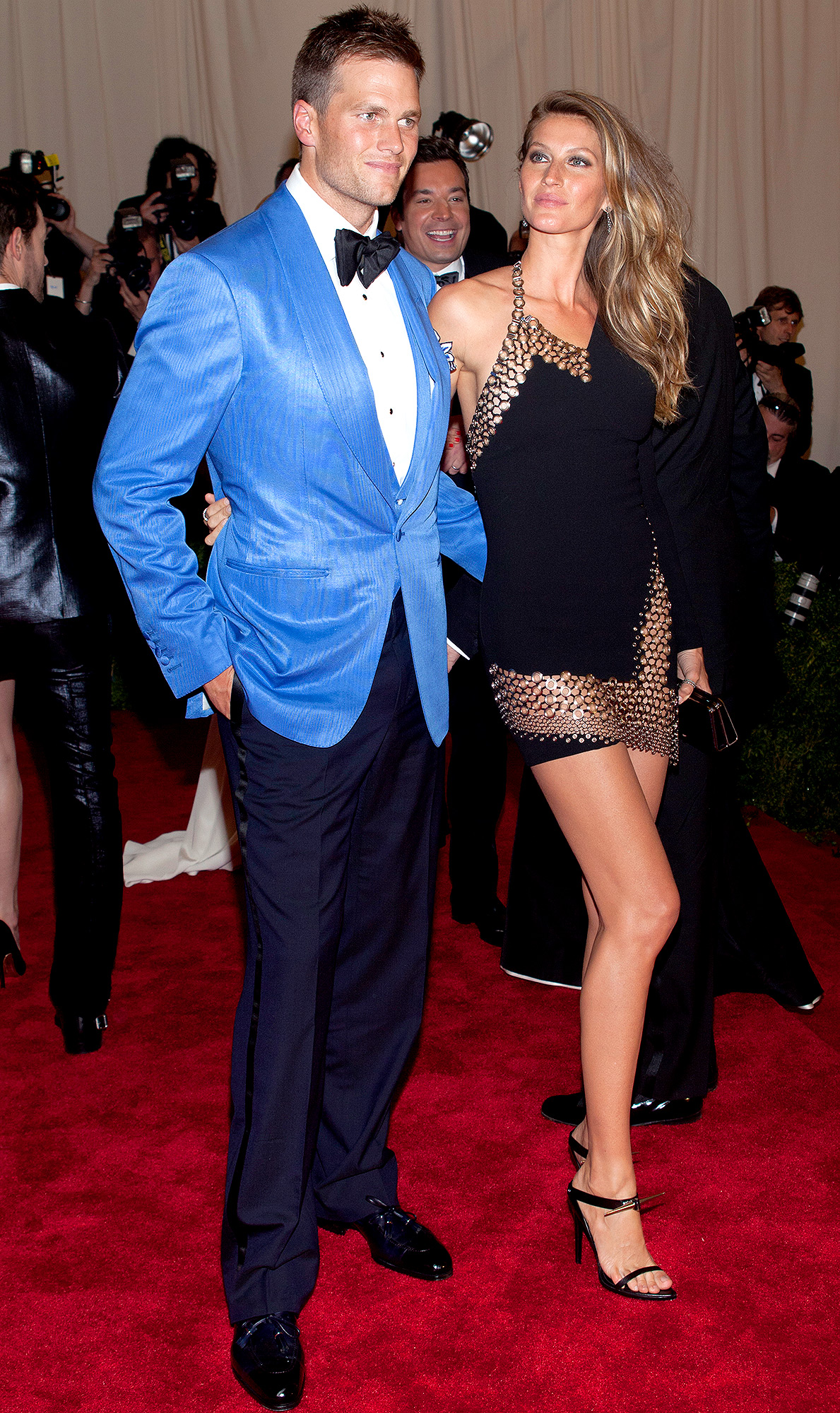 Tom Brady and Gisele Bundchen attend the Costume Institute Gala for the 'PUNK: Chaos to Couture' exhibition at the Metropolitan Museum of Art in New York City. �� LAN (Photo by Lars Niki/Corbis via Getty Images)