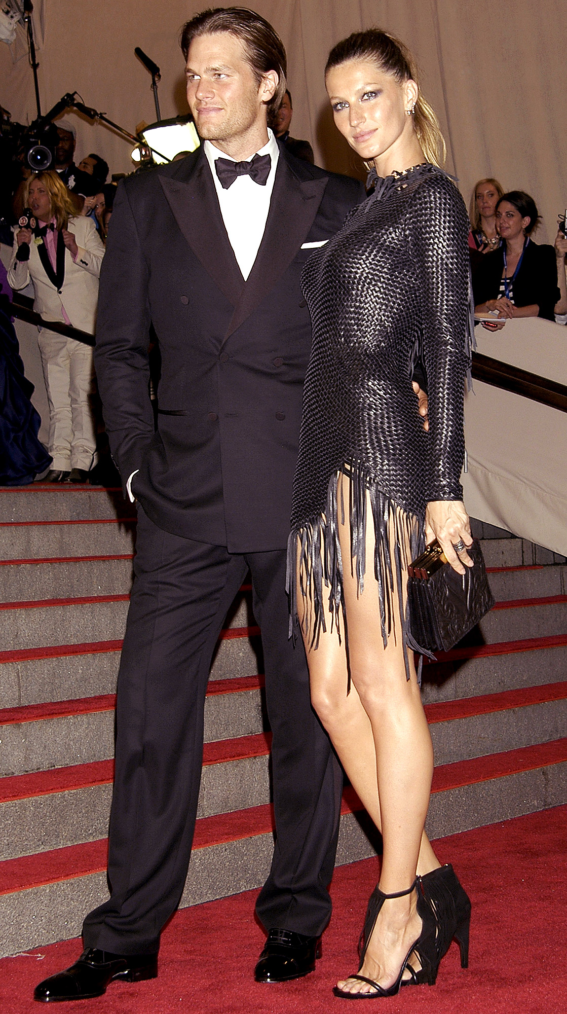 """Tom Brady and Gisele Bundchen attend the Costume Institute Gala Benefit to celebrate the opening of the """"American Woman: Fashioning a National Identity"""" exhibition at The Metropolitan Museum of Art on May 3, 2010 in New York City."""