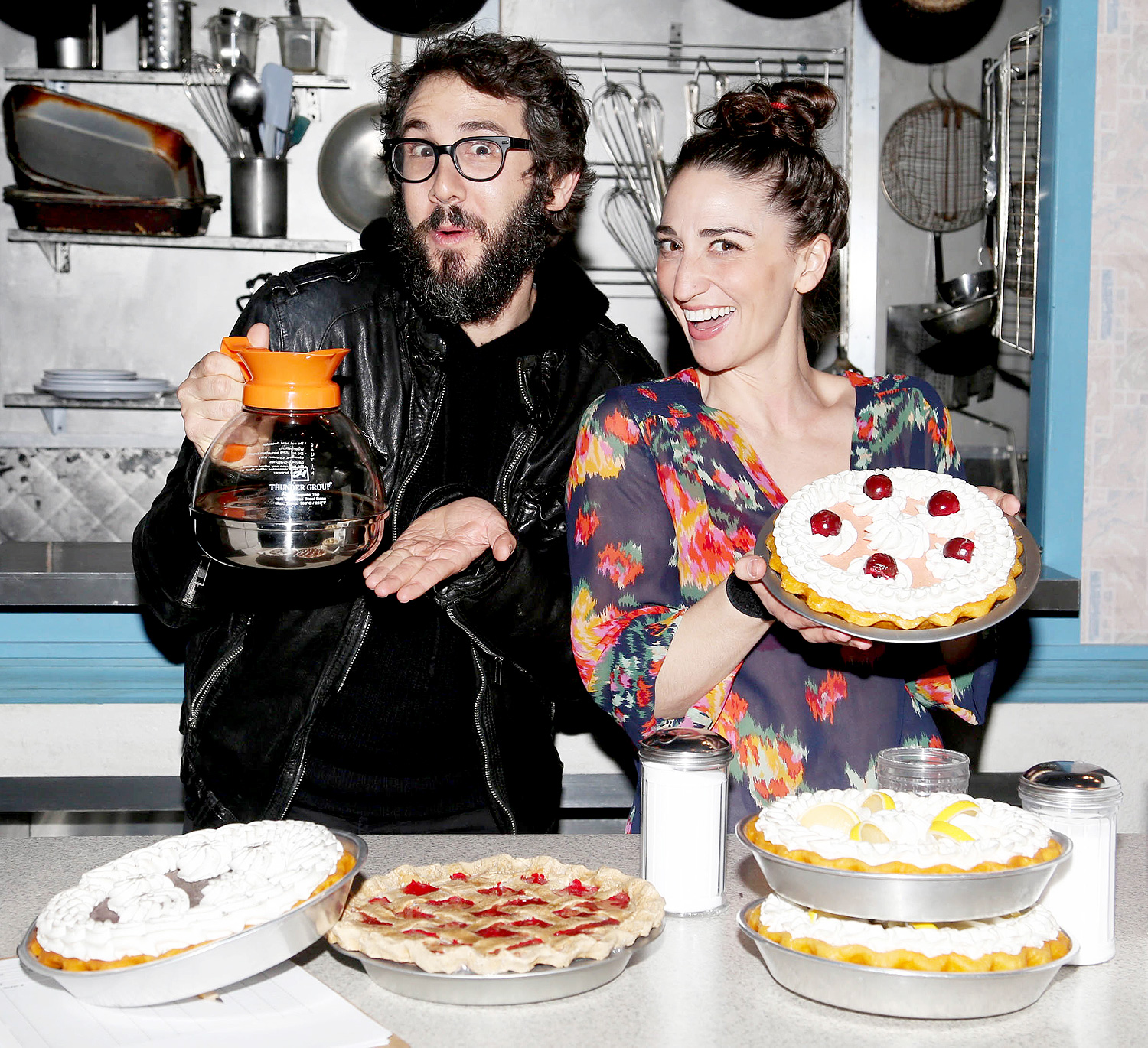 Josh Groban Visits Sara Bareilles Backstage at the Broadway Musical Waitress