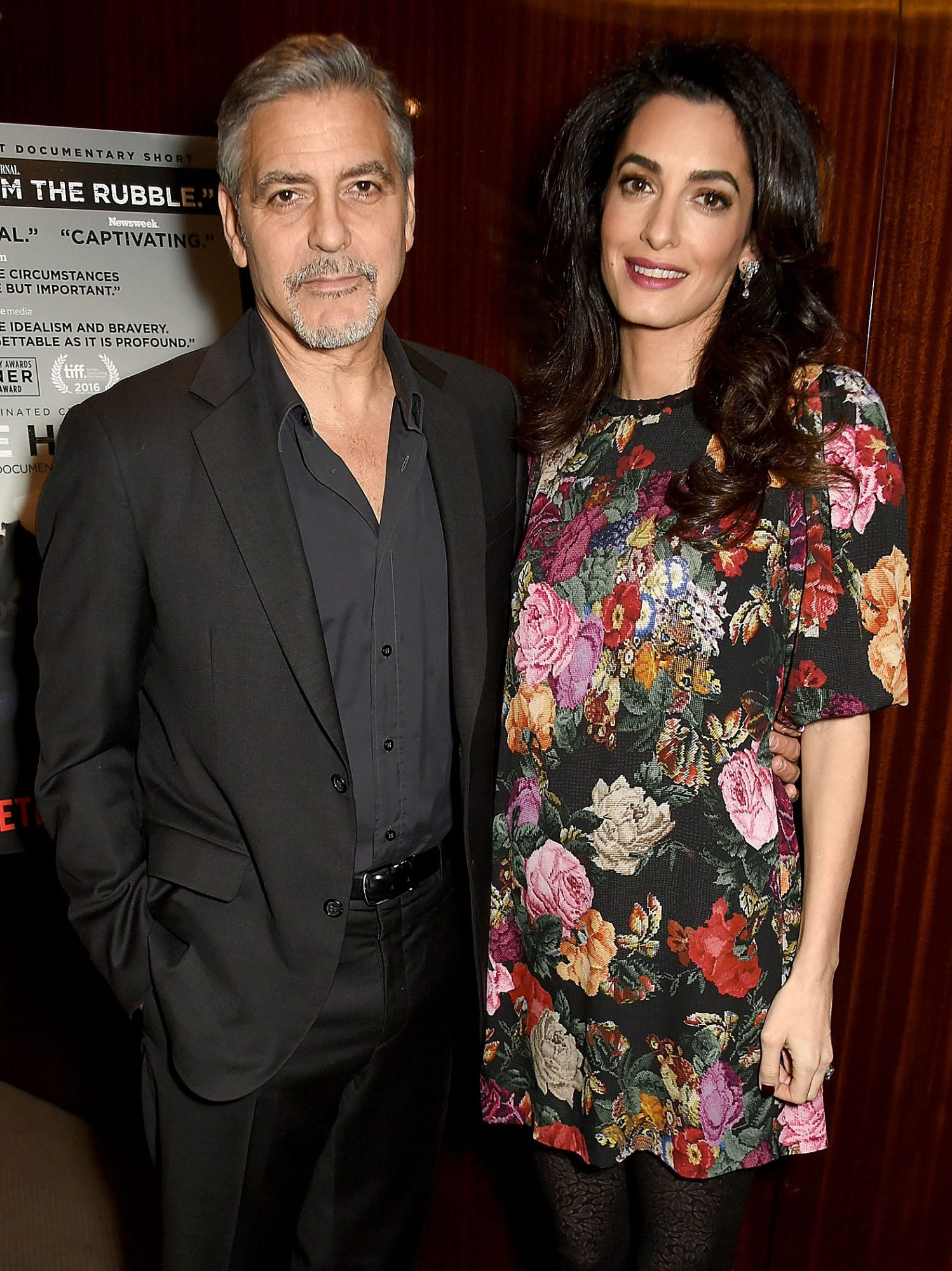 LONDON, ENGLAND - JANUARY 09: George and Amal Clooney attend the Netflix special screening and reception of The White Helmets hosted by The Clooney Foundation For Justice with George and Amal Clooney, at the Bvlgari Hotel on January 9, 2017 in London, England. (Photo by David M. Benett/Dave Benett/Getty Images for Netflix ) *** Local Caption *** George Clooney;Amal Clooney