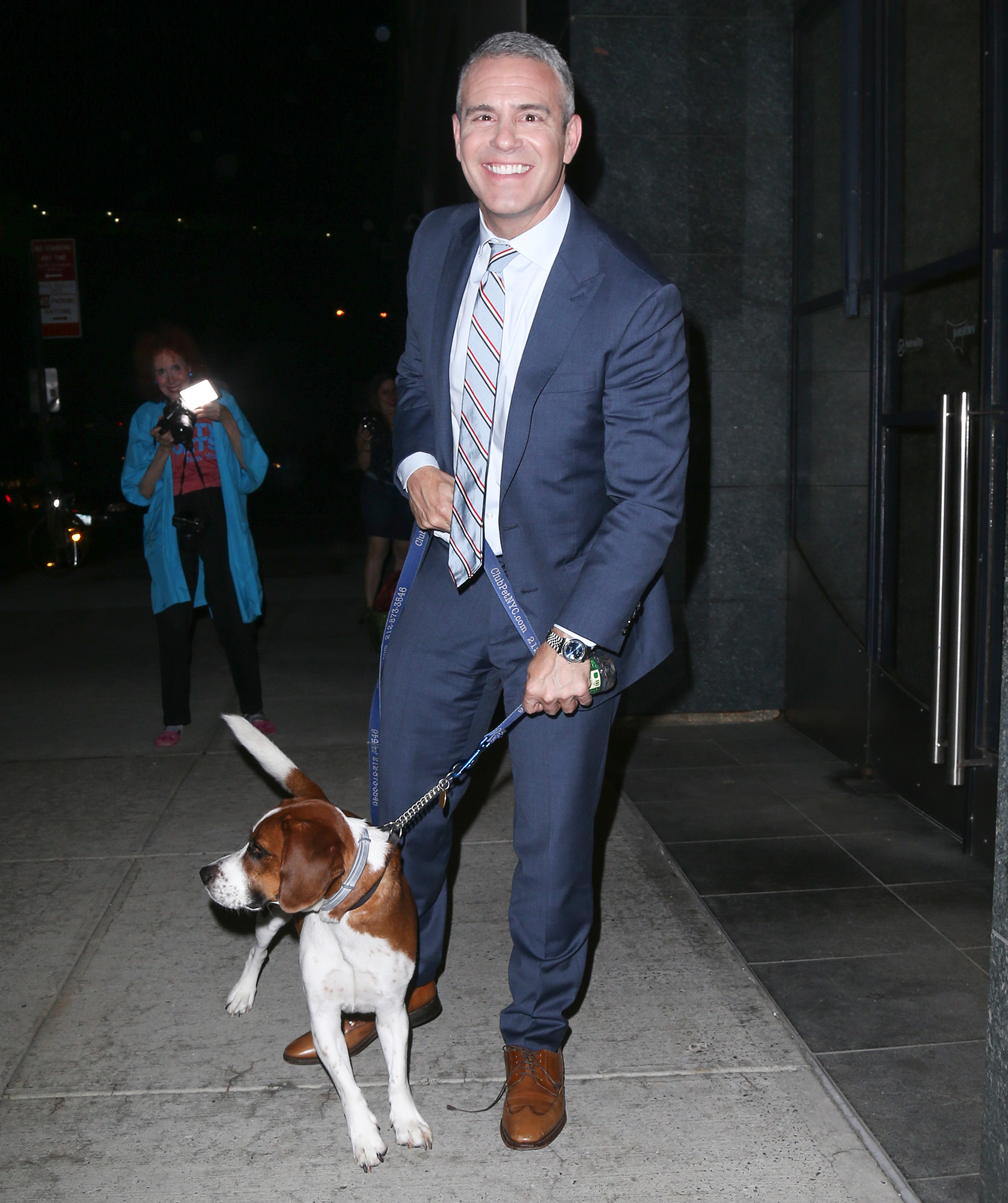 Andy Cohen and his dog out and about in New York City